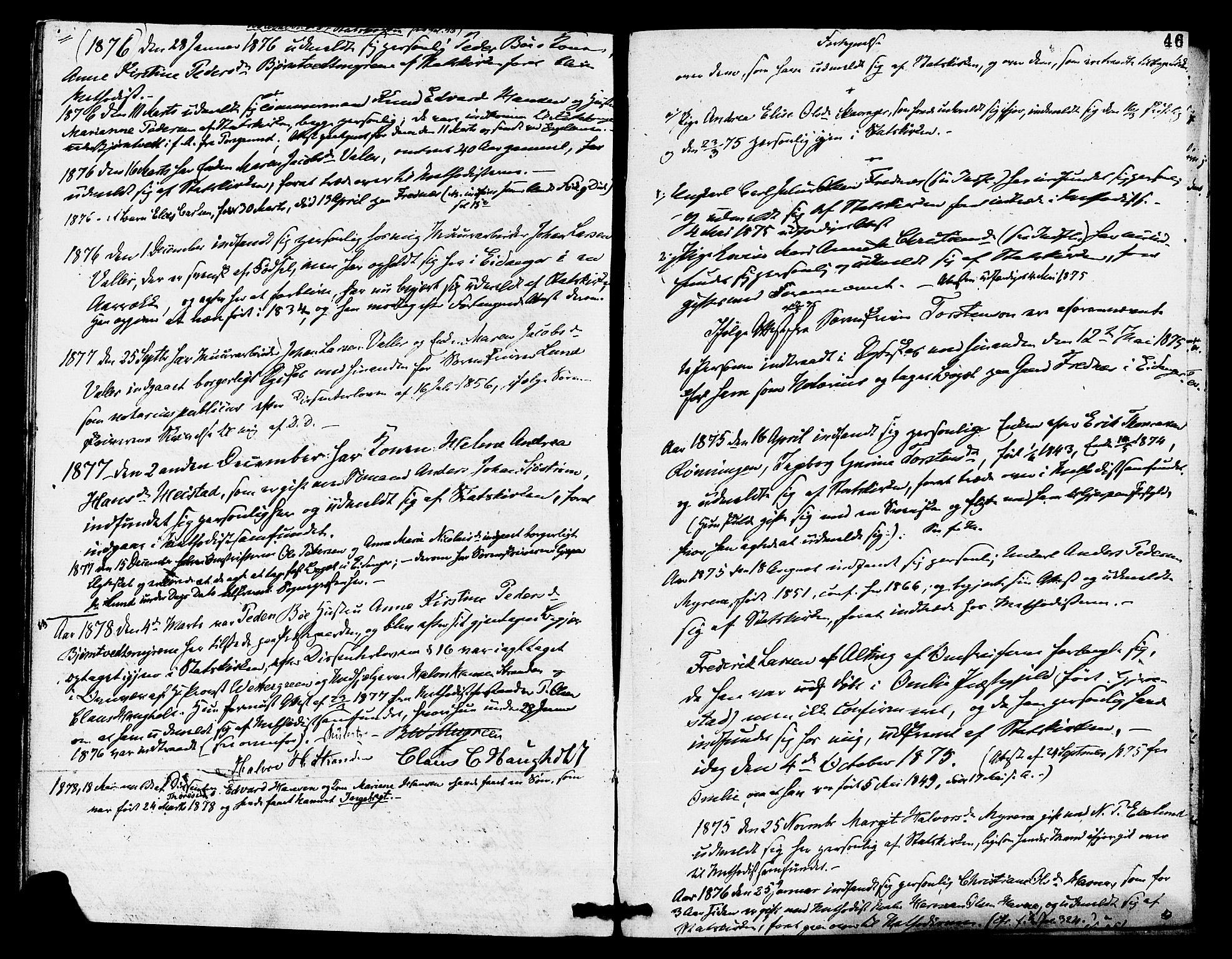 SAKO, Eidanger kirkebøker, F/Fa/L0011: Ministerialbok nr. 11, 1875-1878, s. 46