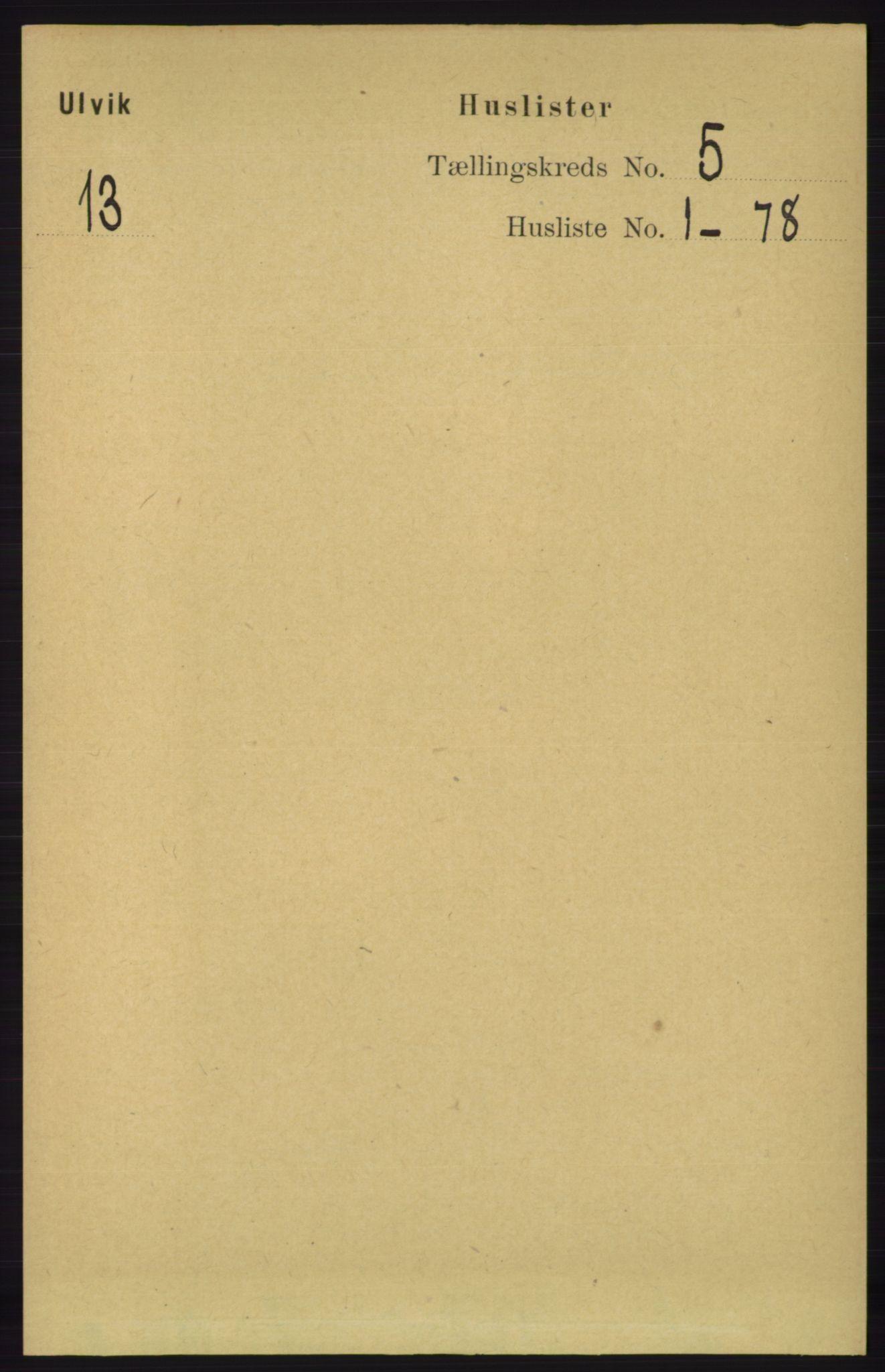 RA, Folketelling 1891 for 1233 Ulvik herred, 1891, s. 1322
