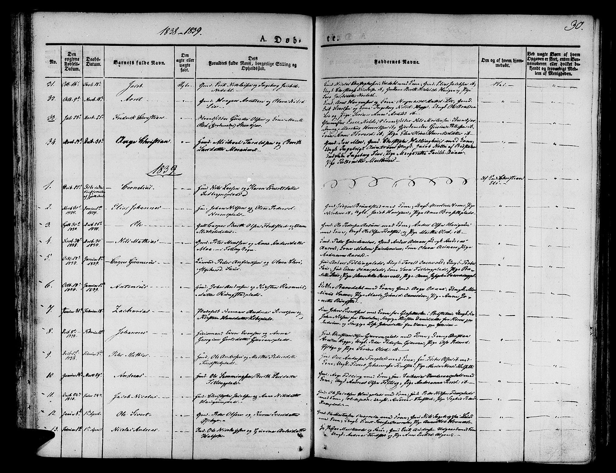 SAT, Ministerialprotokoller, klokkerbøker og fødselsregistre - Nord-Trøndelag, 746/L0445: Ministerialbok nr. 746A04, 1826-1846, s. 30