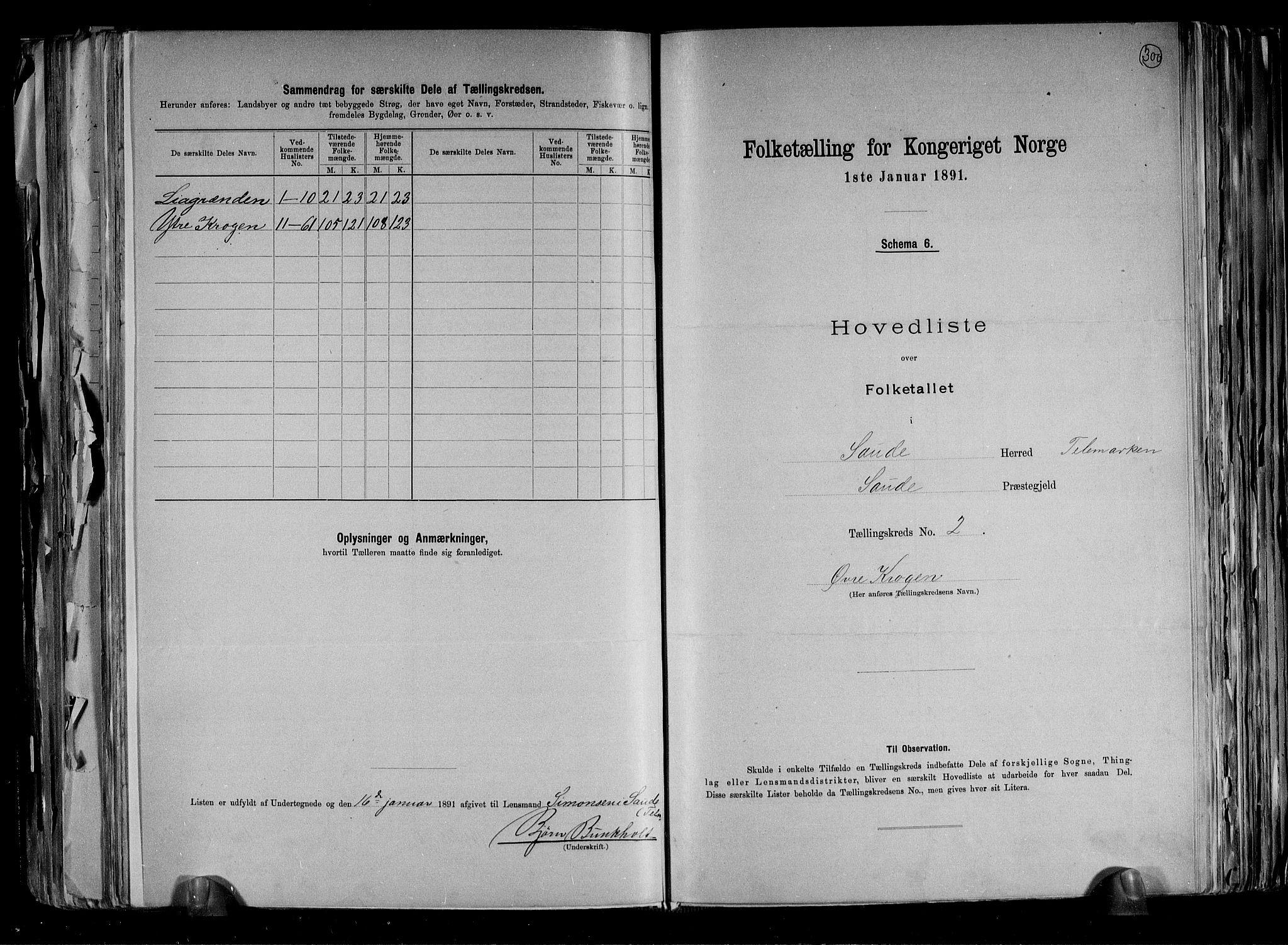 RA, Folketelling 1891 for 0822 Sauherad herred, 1891, s. 6