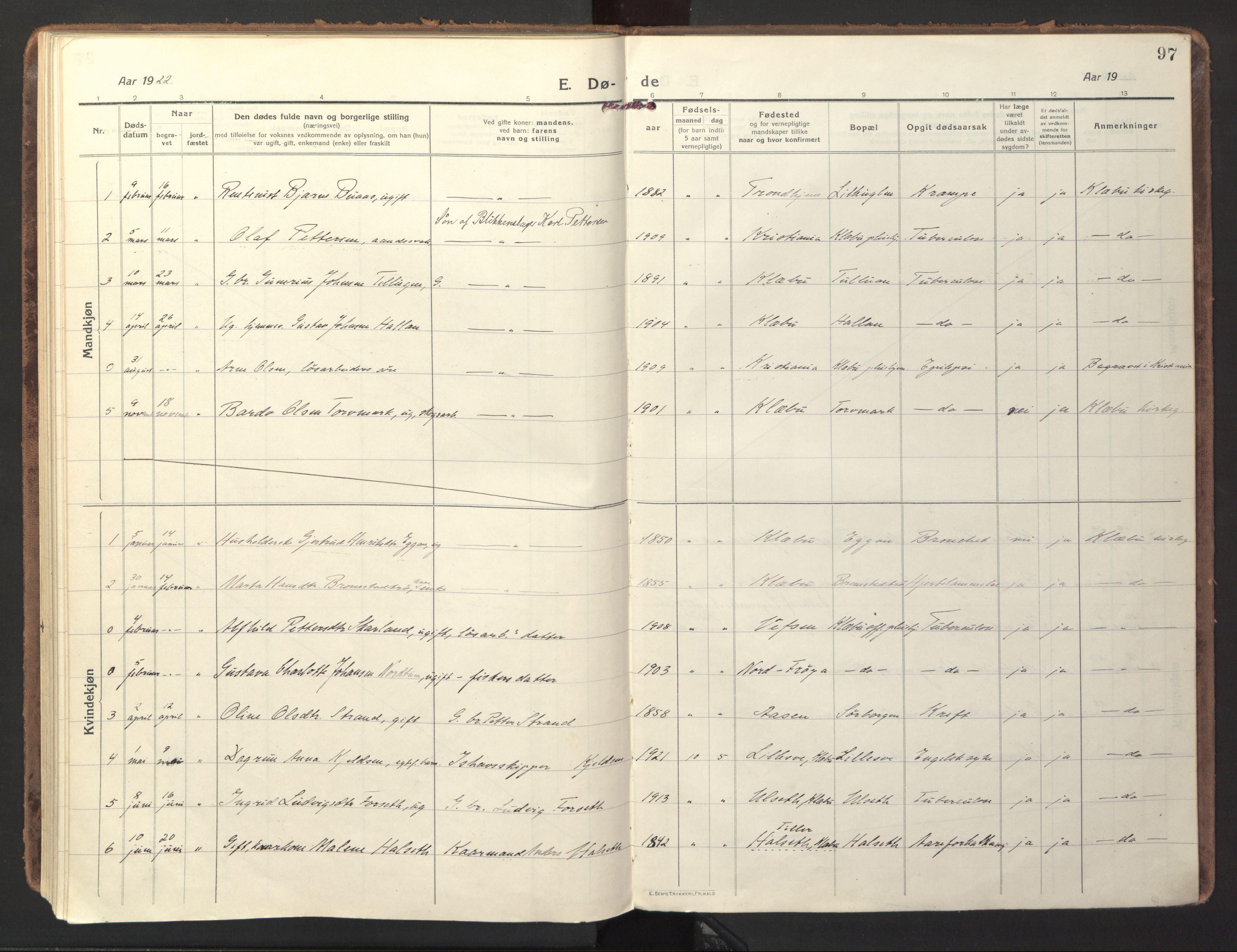 SAT, Ministerialprotokoller, klokkerbøker og fødselsregistre - Sør-Trøndelag, 618/L0449: Ministerialbok nr. 618A12, 1917-1924, s. 97