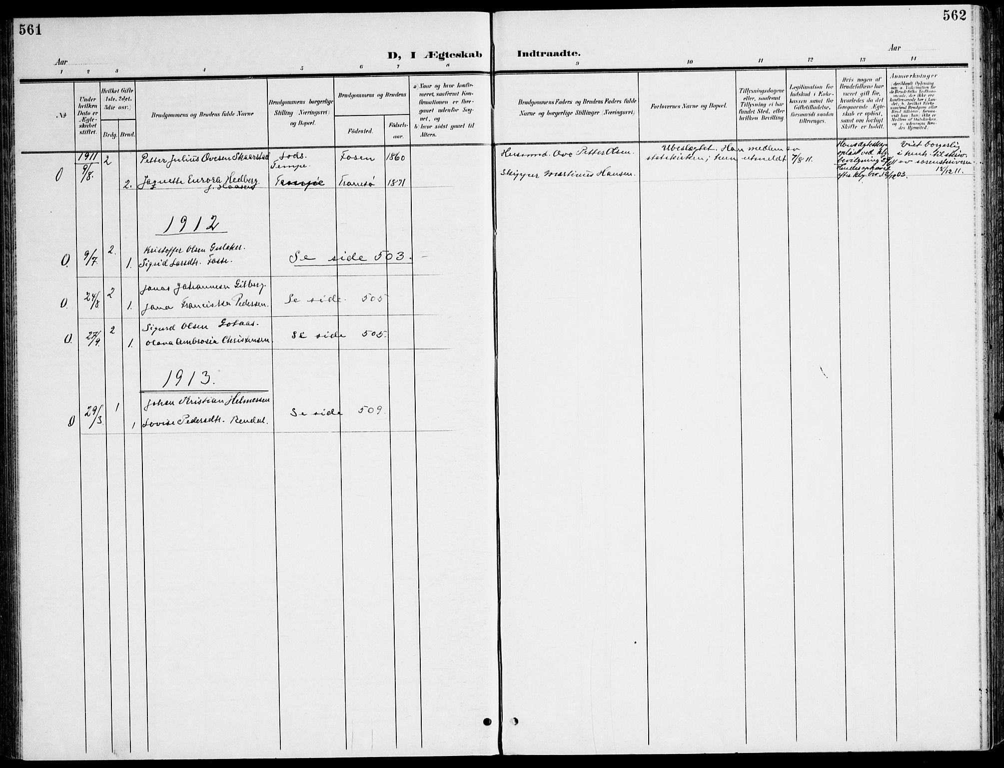 SAT, Ministerialprotokoller, klokkerbøker og fødselsregistre - Sør-Trøndelag, 607/L0320: Ministerialbok nr. 607A04, 1907-1915, s. 561-562