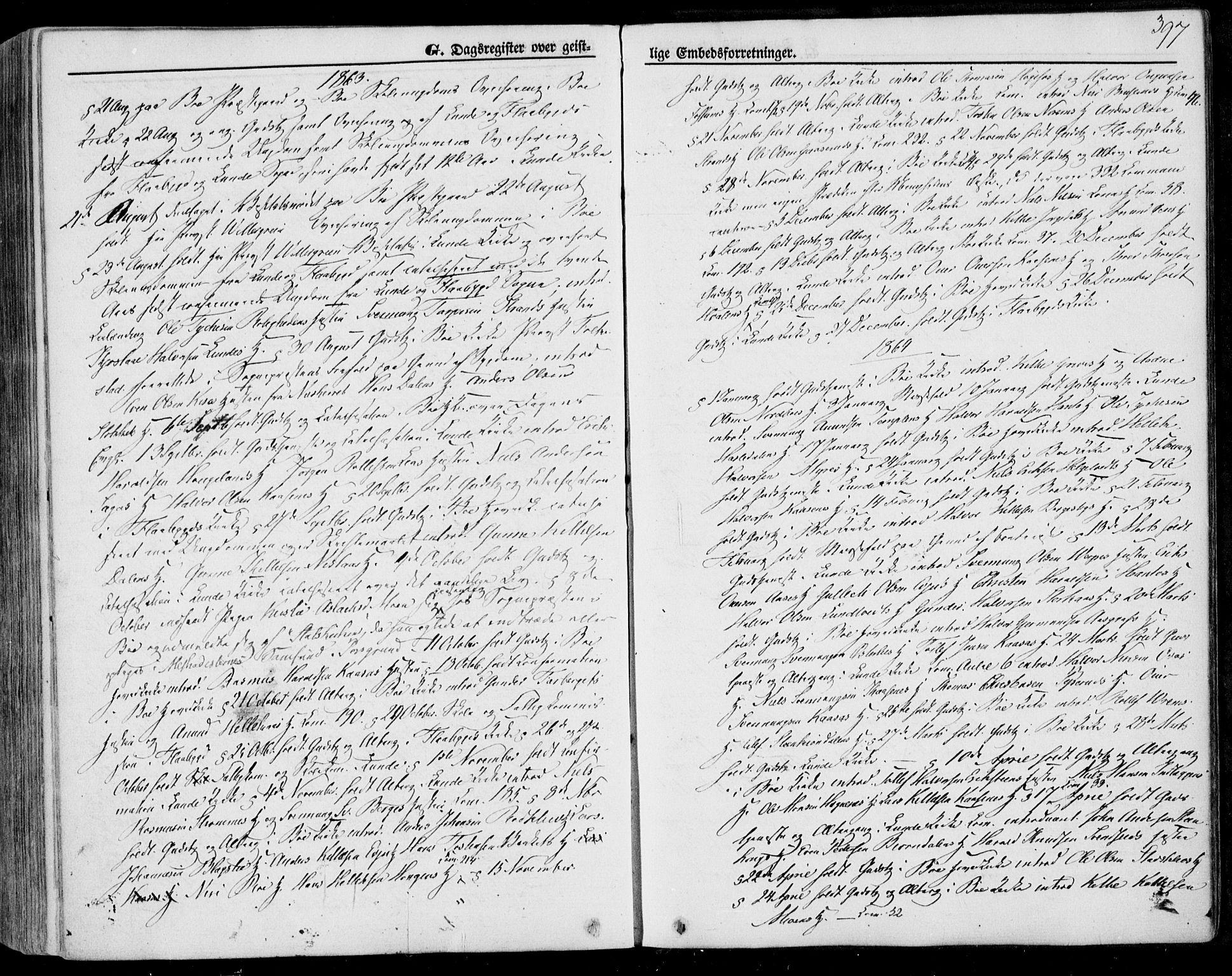 SAKO, Bø kirkebøker, F/Fa/L0009: Ministerialbok nr. 9, 1862-1879, s. 397