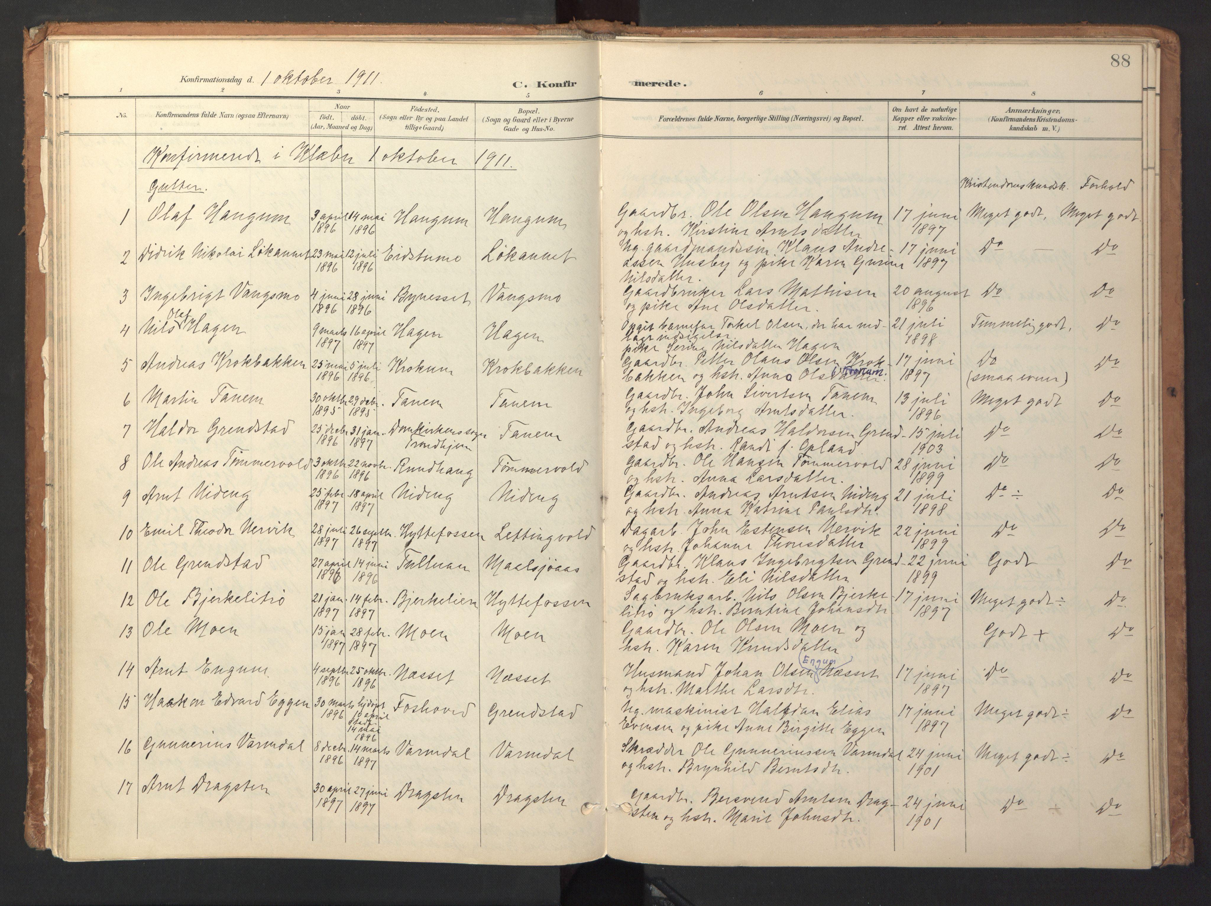 SAT, Ministerialprotokoller, klokkerbøker og fødselsregistre - Sør-Trøndelag, 618/L0448: Ministerialbok nr. 618A11, 1898-1916, s. 88