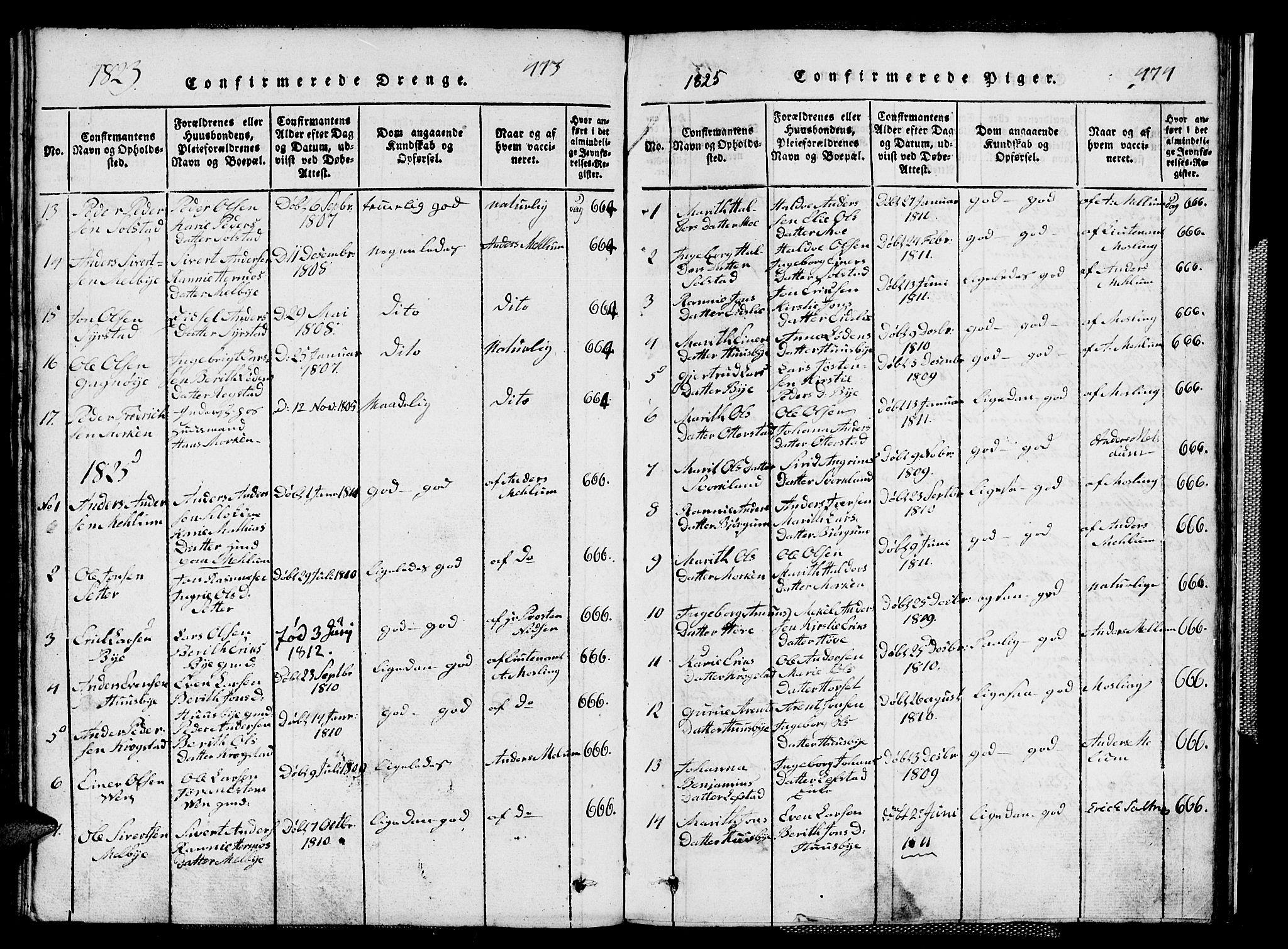 SAT, Ministerialprotokoller, klokkerbøker og fødselsregistre - Sør-Trøndelag, 667/L0796: Klokkerbok nr. 667C01, 1817-1836, s. 473-474