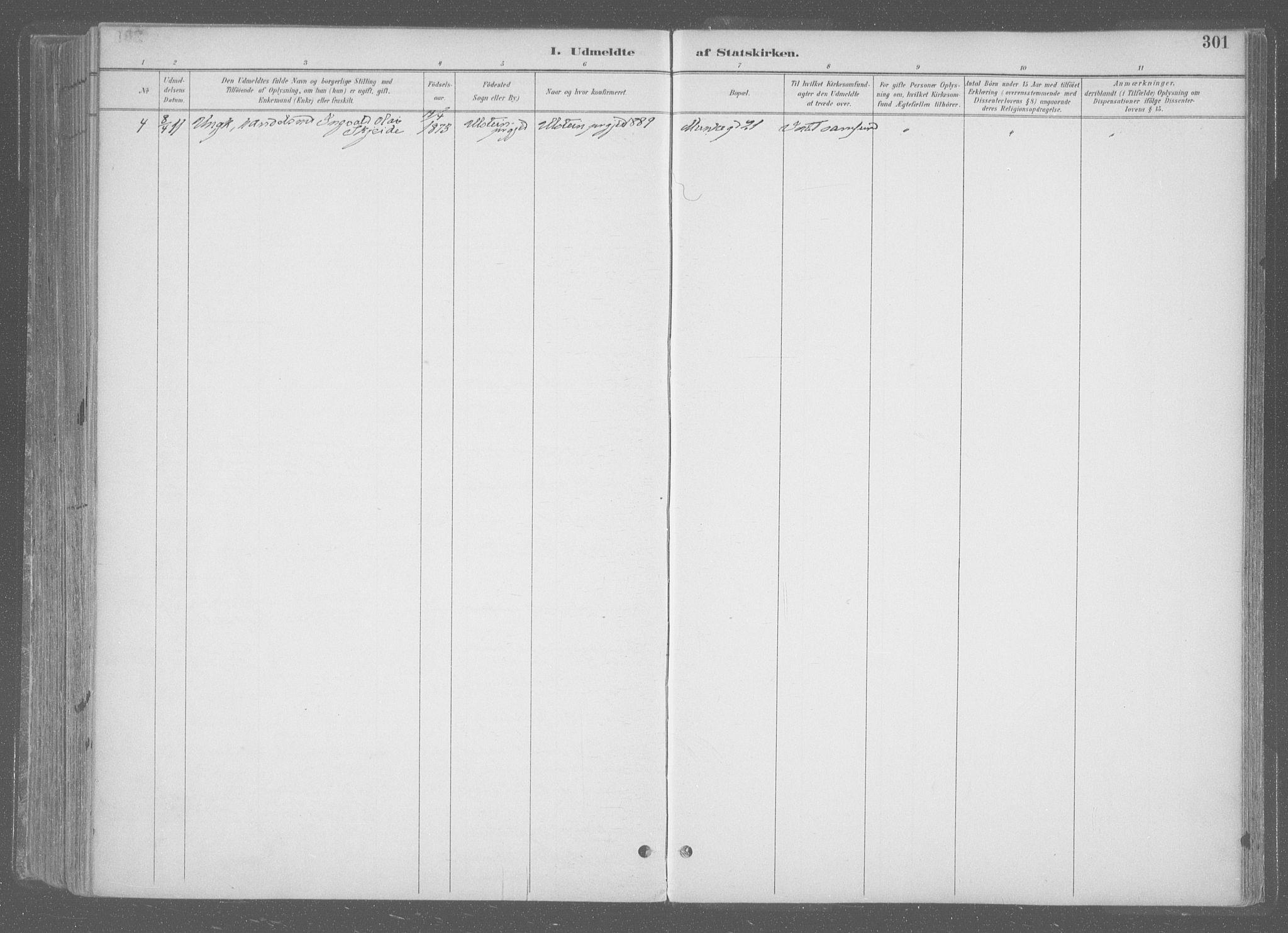 SAT, Ministerialprotokoller, klokkerbøker og fødselsregistre - Sør-Trøndelag, 601/L0064: Ministerialbok nr. 601A31, 1891-1911, s. 301