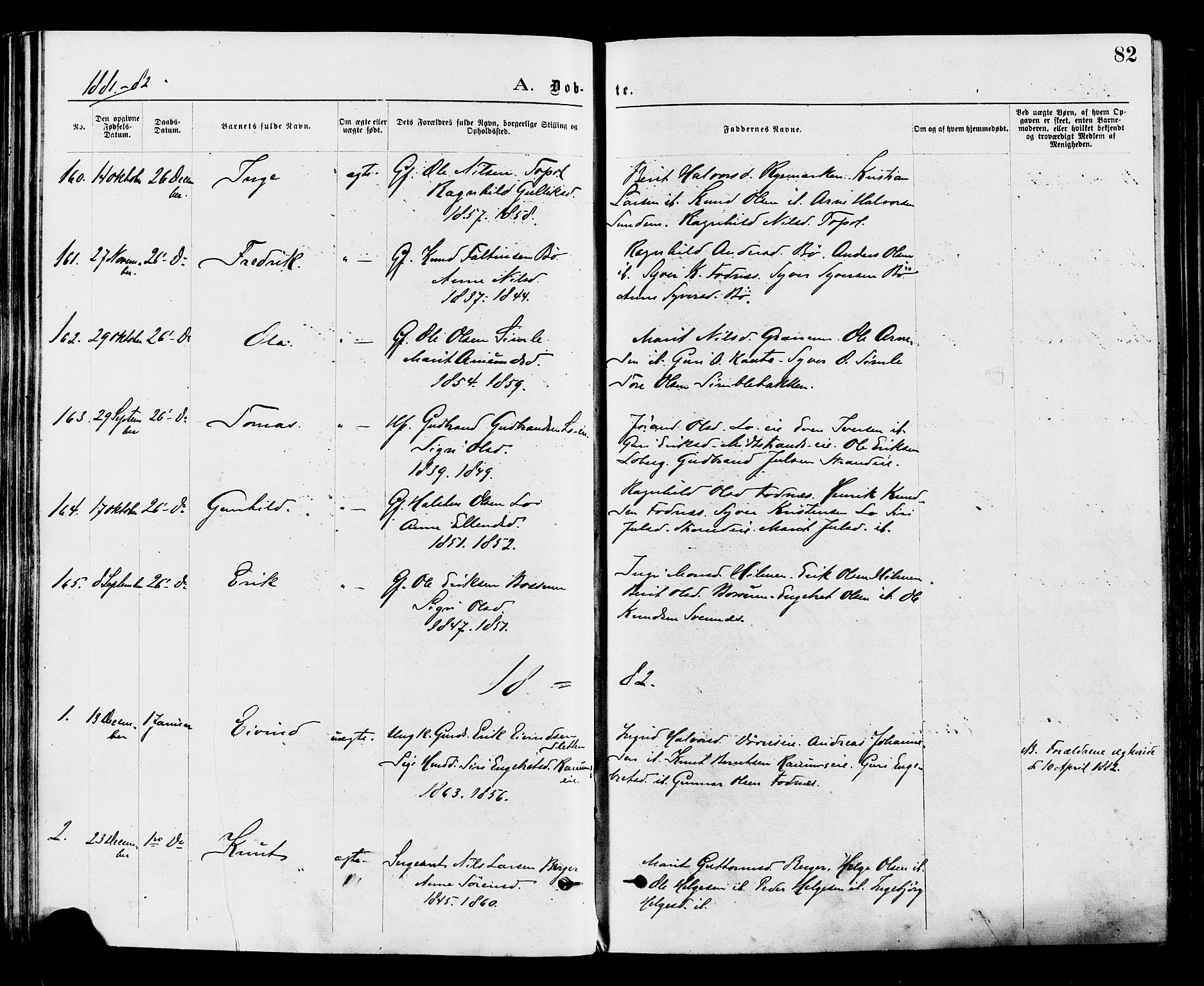 SAH, Nord-Aurdal prestekontor, Ministerialbok nr. 9, 1876-1882, s. 82
