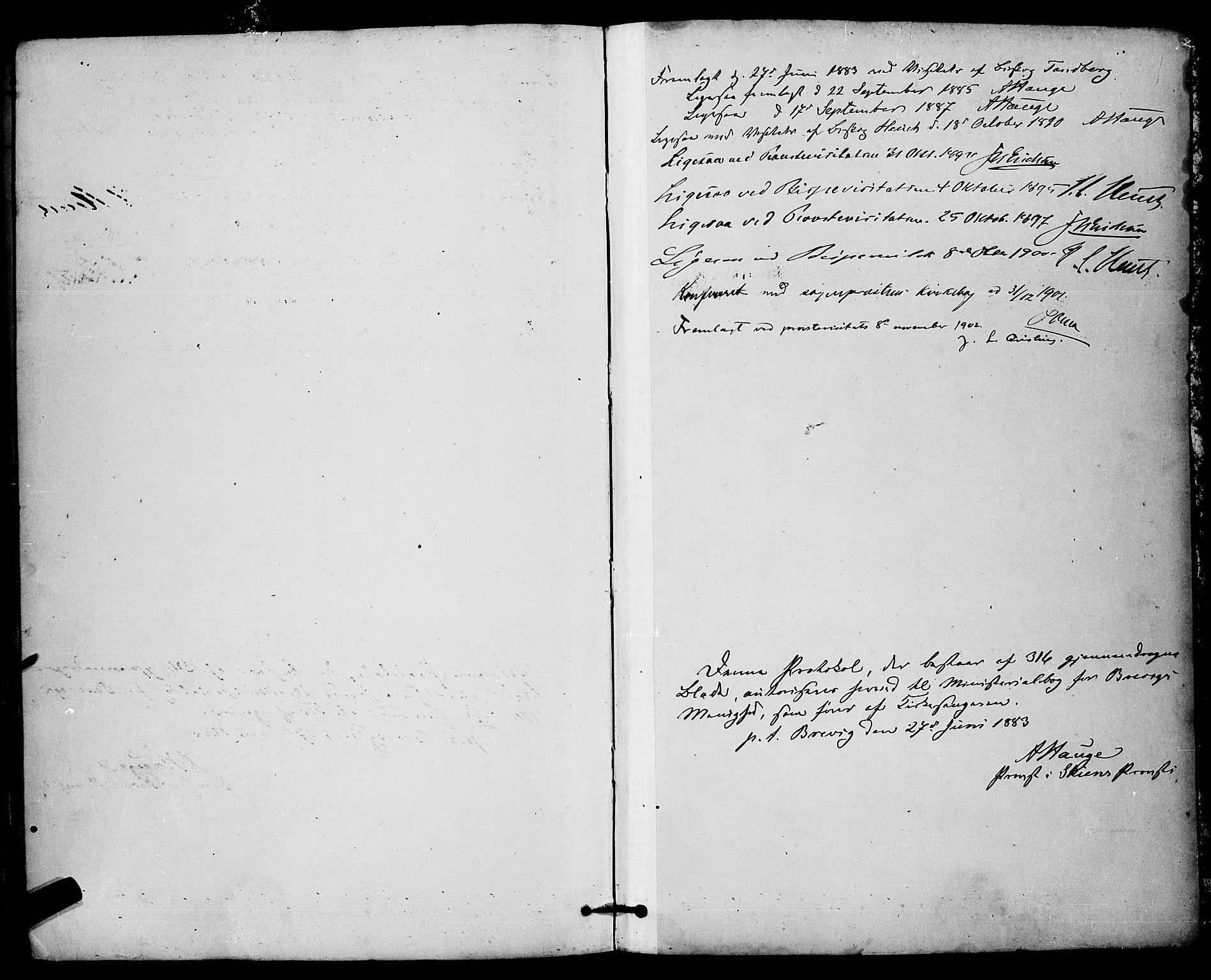 SAKO, Brevik kirkebøker, G/Ga/L0004: Klokkerbok nr. 4, 1882-1900