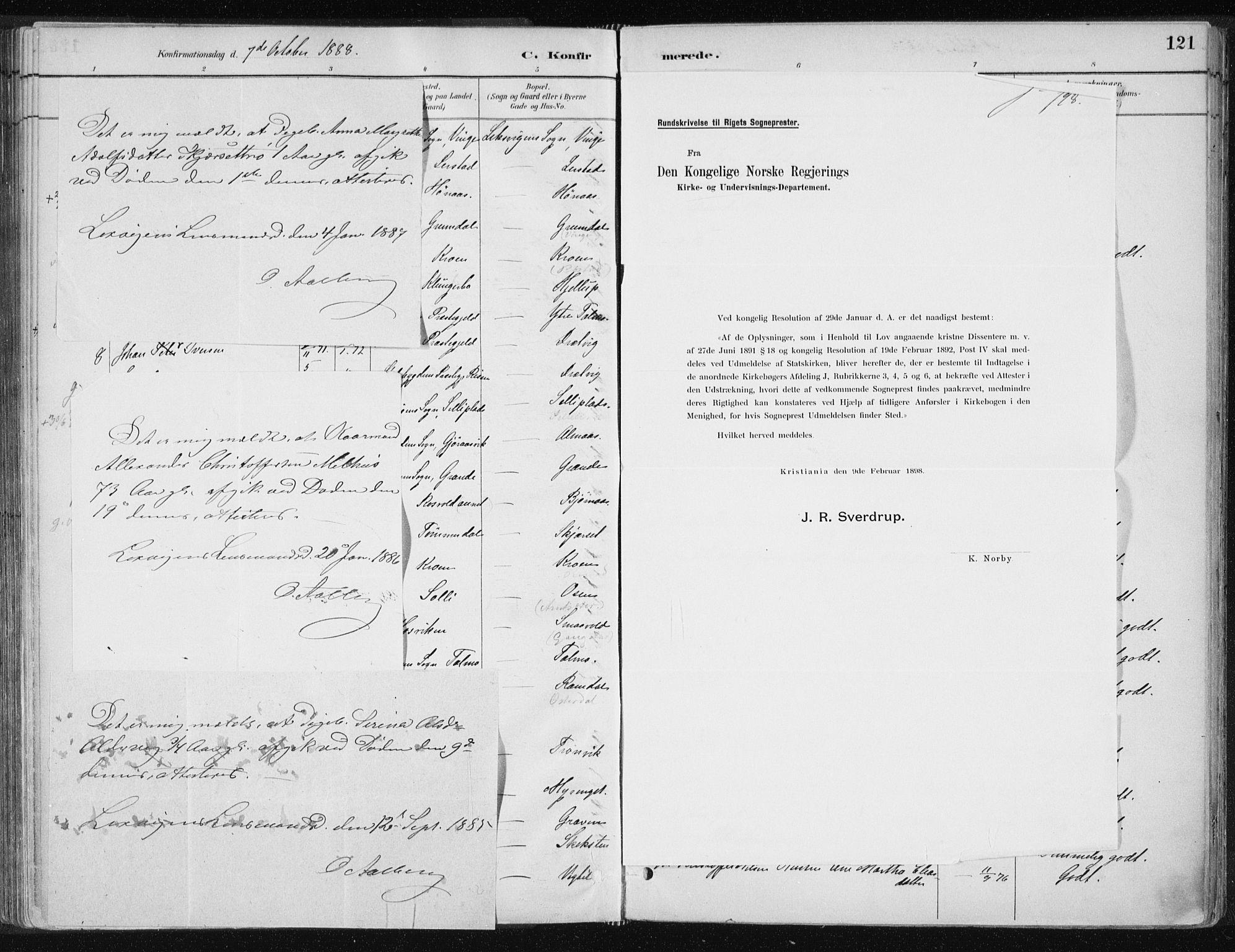 SAT, Ministerialprotokoller, klokkerbøker og fødselsregistre - Nord-Trøndelag, 701/L0010: Ministerialbok nr. 701A10, 1883-1899, s. 121
