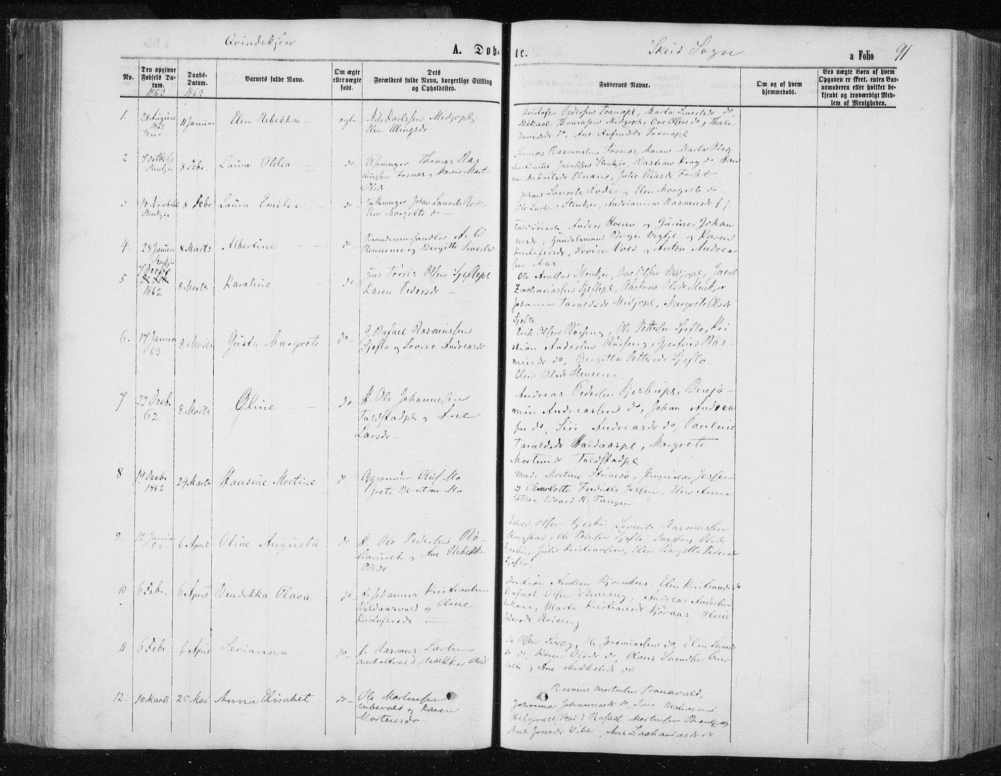 SAT, Ministerialprotokoller, klokkerbøker og fødselsregistre - Nord-Trøndelag, 735/L0345: Ministerialbok nr. 735A08 /2, 1863-1872, s. 91