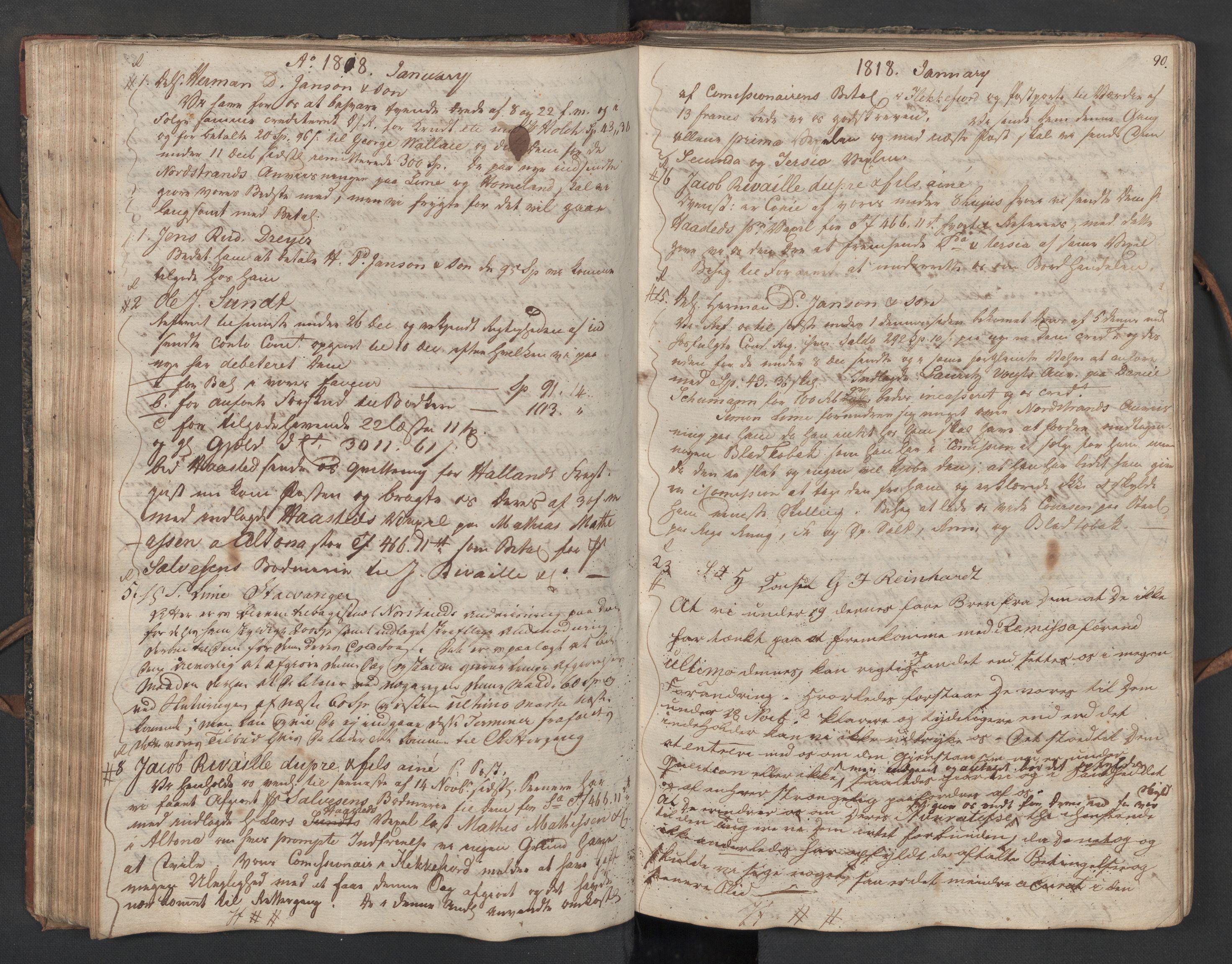 SAST, Pa 0003 - Ploug & Sundt, handelshuset, B/L0010: Kopibok, 1816-1822, s. 89b-90a