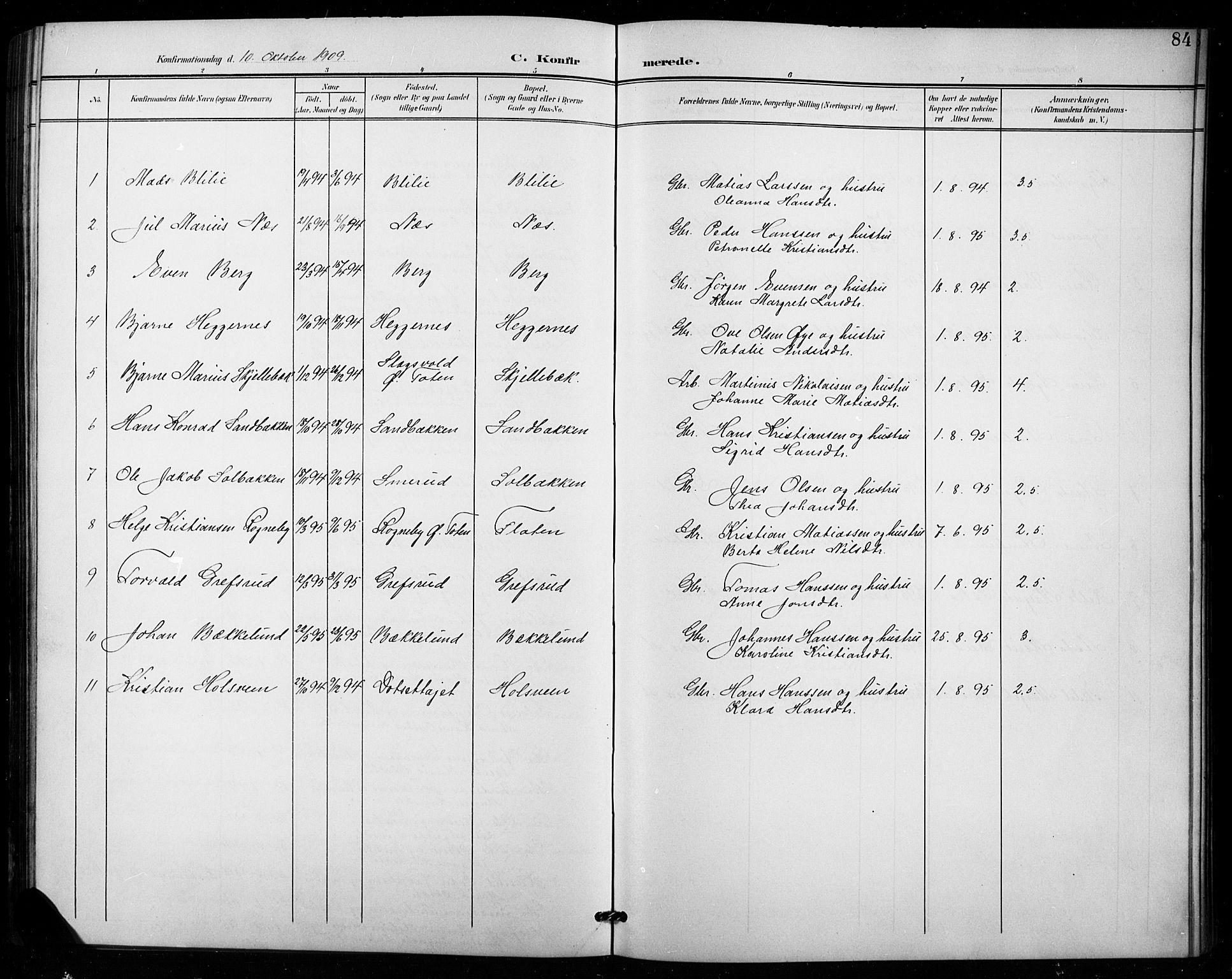 SAH, Vestre Toten prestekontor, H/Ha/Hab/L0016: Klokkerbok nr. 16, 1901-1915, s. 84