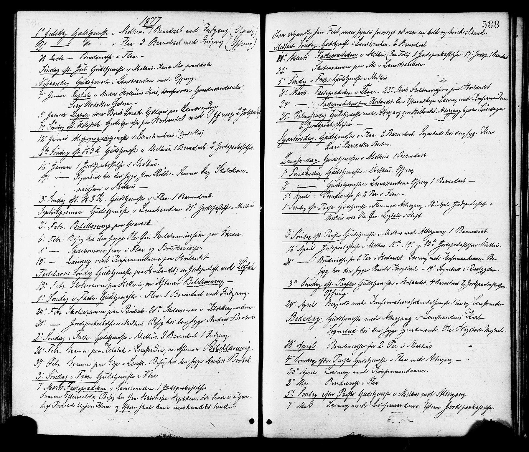 SAT, Ministerialprotokoller, klokkerbøker og fødselsregistre - Sør-Trøndelag, 691/L1079: Ministerialbok nr. 691A11, 1873-1886, s. 588