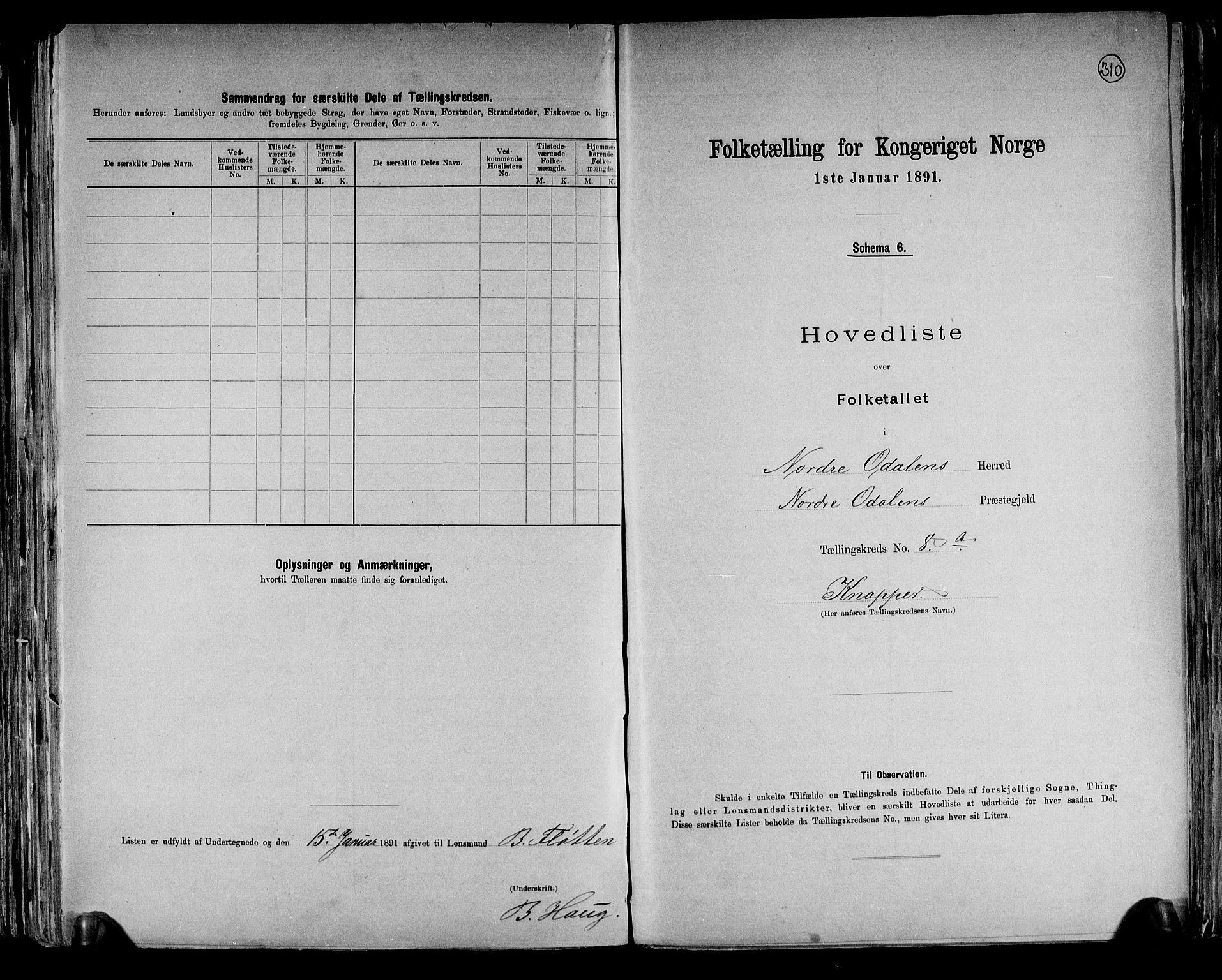 RA, Folketelling 1891 for 0418 Nord-Odal herred, 1891, s. 22