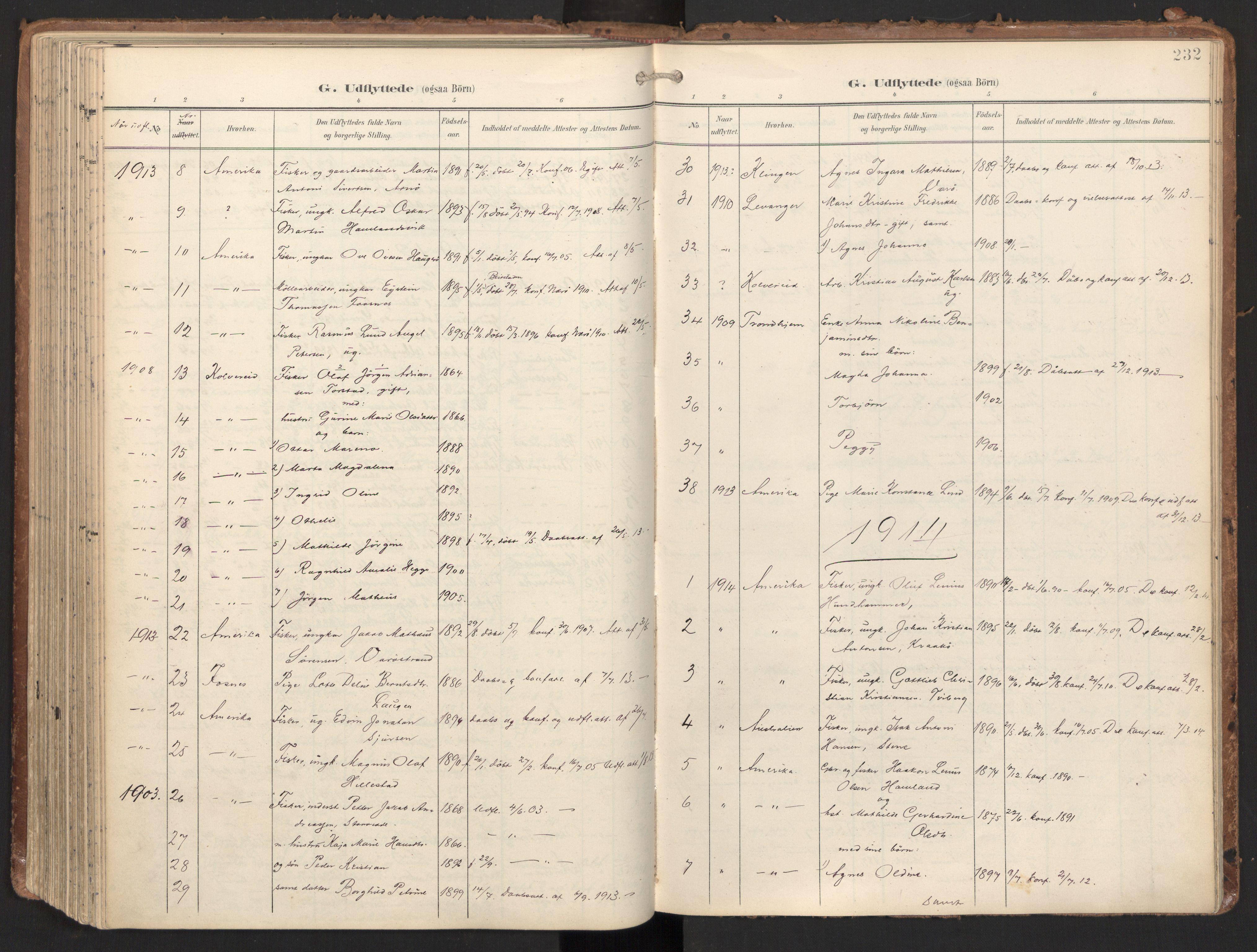 SAT, Ministerialprotokoller, klokkerbøker og fødselsregistre - Nord-Trøndelag, 784/L0677: Ministerialbok nr. 784A12, 1900-1920, s. 232