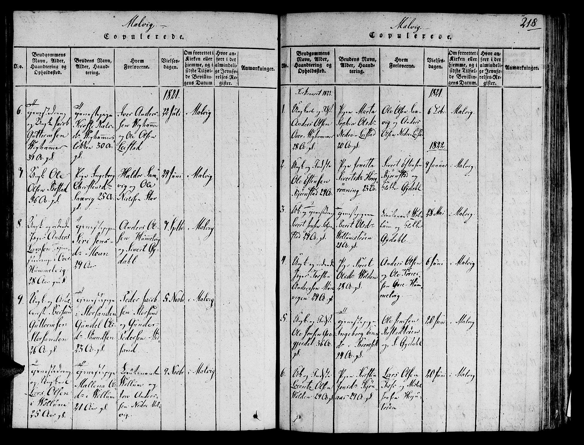 SAT, Ministerialprotokoller, klokkerbøker og fødselsregistre - Sør-Trøndelag, 606/L0284: Ministerialbok nr. 606A03 /2, 1819-1823, s. 218