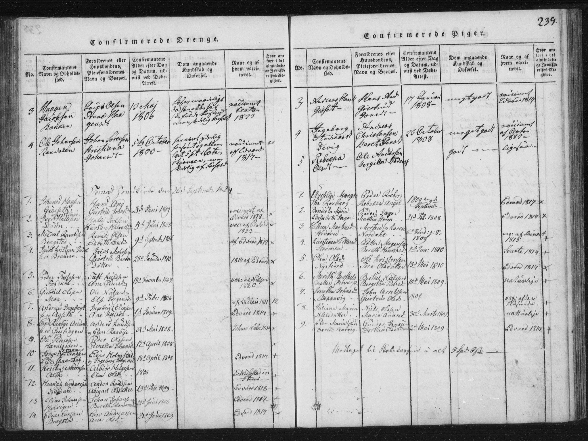 SAT, Ministerialprotokoller, klokkerbøker og fødselsregistre - Nord-Trøndelag, 773/L0609: Ministerialbok nr. 773A03 /1, 1815-1830, s. 239