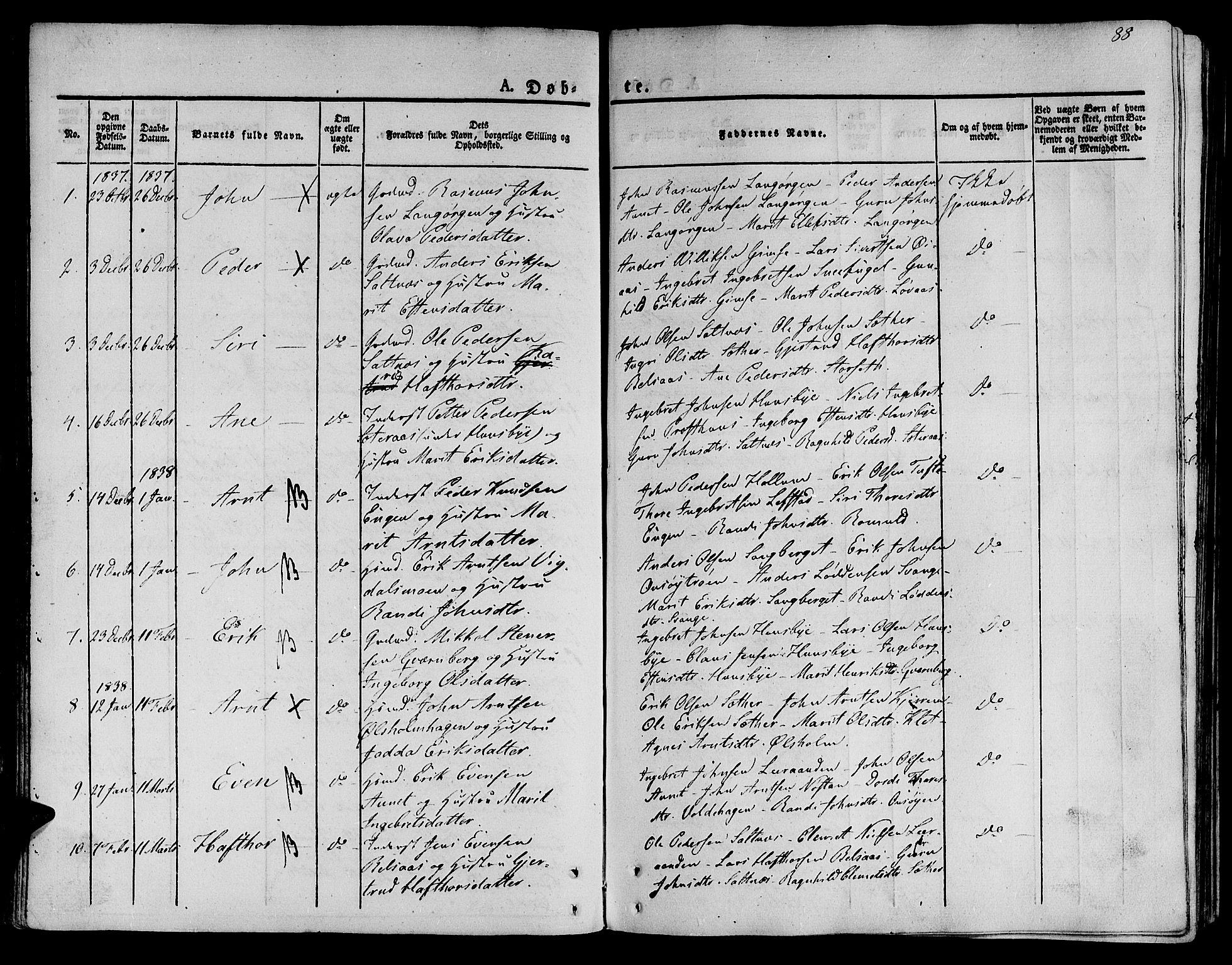SAT, Ministerialprotokoller, klokkerbøker og fødselsregistre - Sør-Trøndelag, 612/L0375: Ministerialbok nr. 612A07 /2, 1829-1845, s. 88