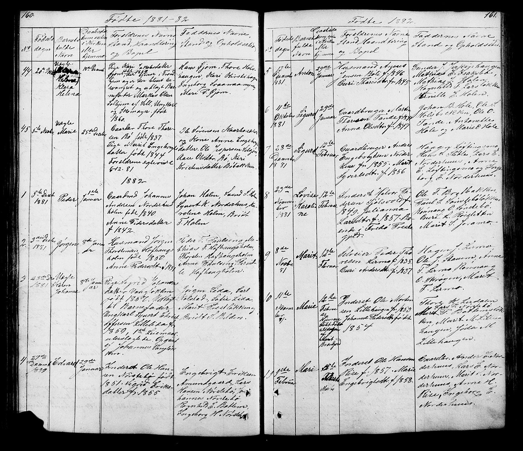 SAH, Lesja prestekontor, Klokkerbok nr. 5, 1850-1894, s. 160-161