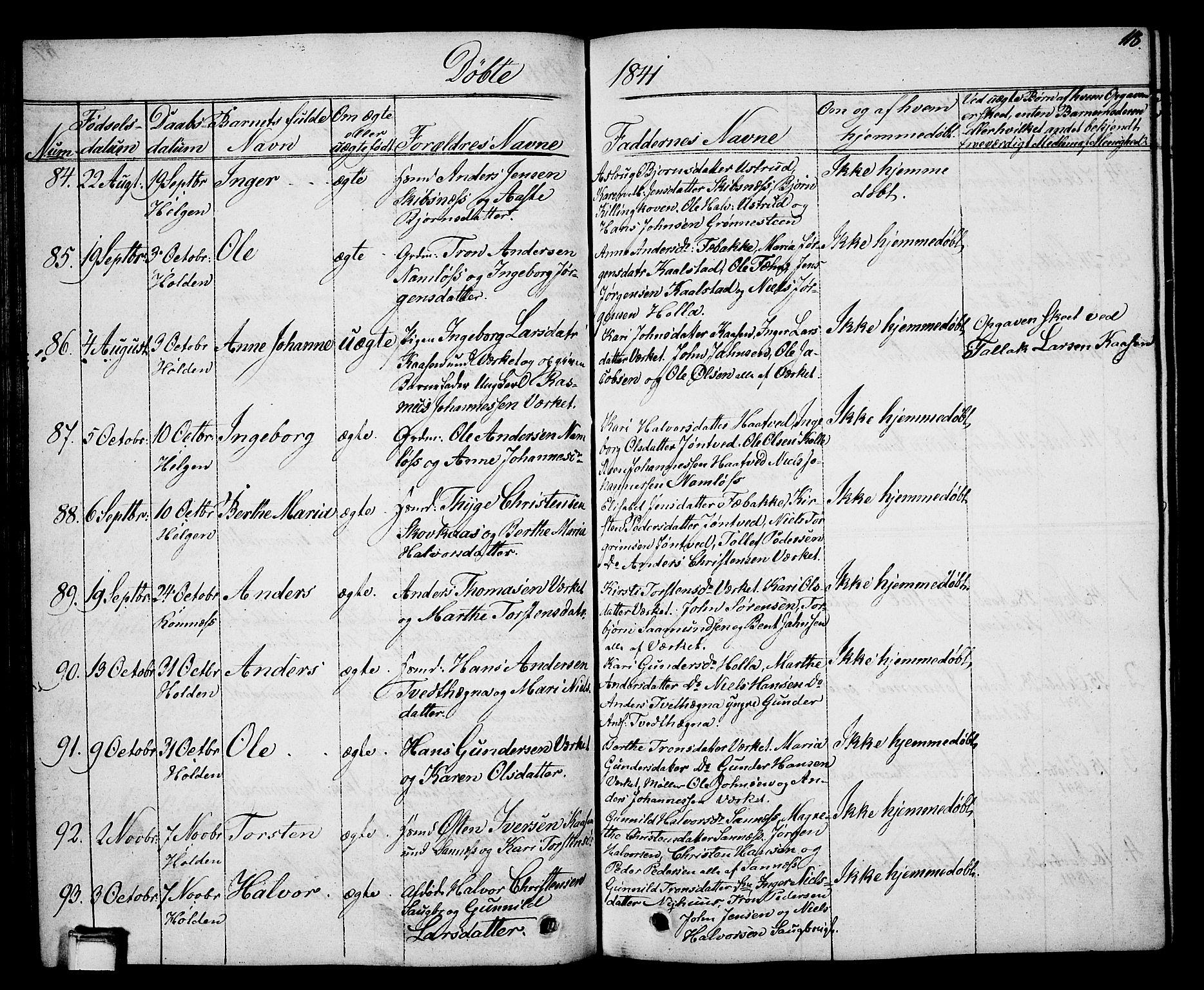 SAKO, Holla kirkebøker, G/Ga/L0002: Klokkerbok nr. I 2, 1830-1848, s. 118