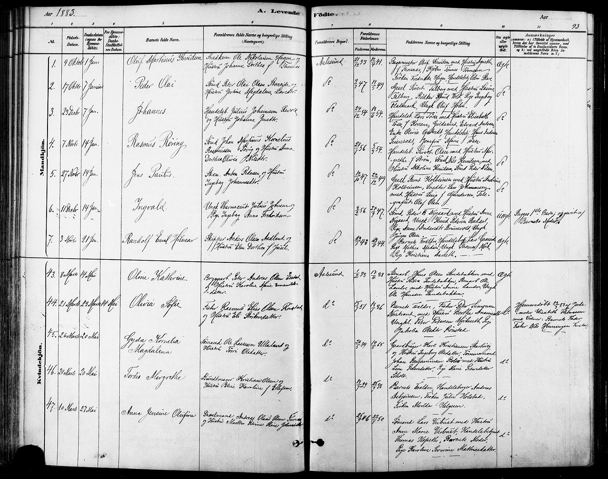 SAT, Ministerialprotokoller, klokkerbøker og fødselsregistre - Møre og Romsdal, 529/L0454: Ministerialbok nr. 529A04, 1878-1885, s. 93