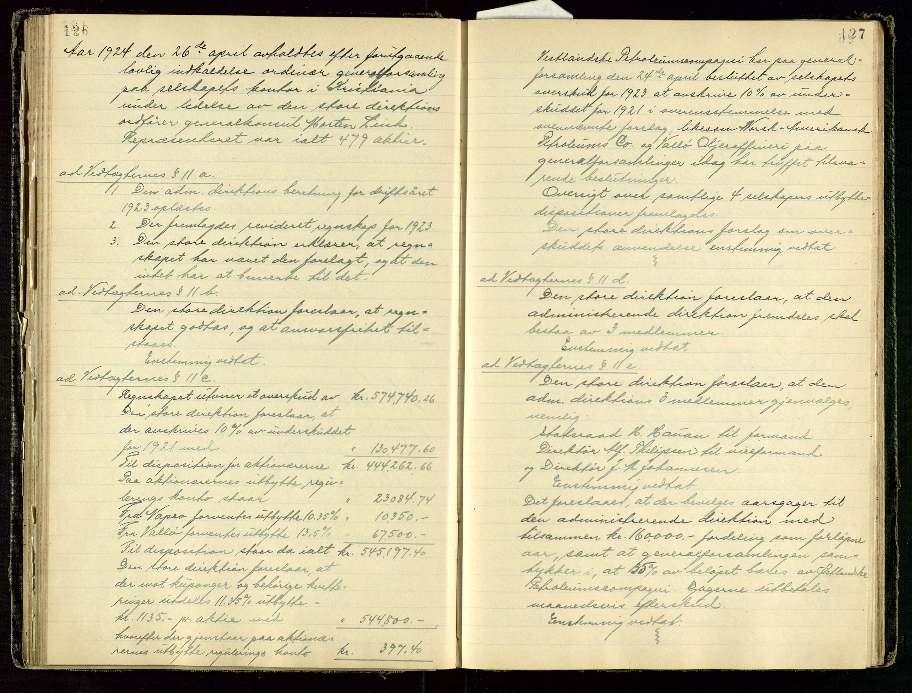 SAST, PA 1534 - Østlandske Petroleumscompagni A/S, A/Aa/L0001: Generalforsamlinger og direksjonsprotokoller., 1892-1960, s. 126-127