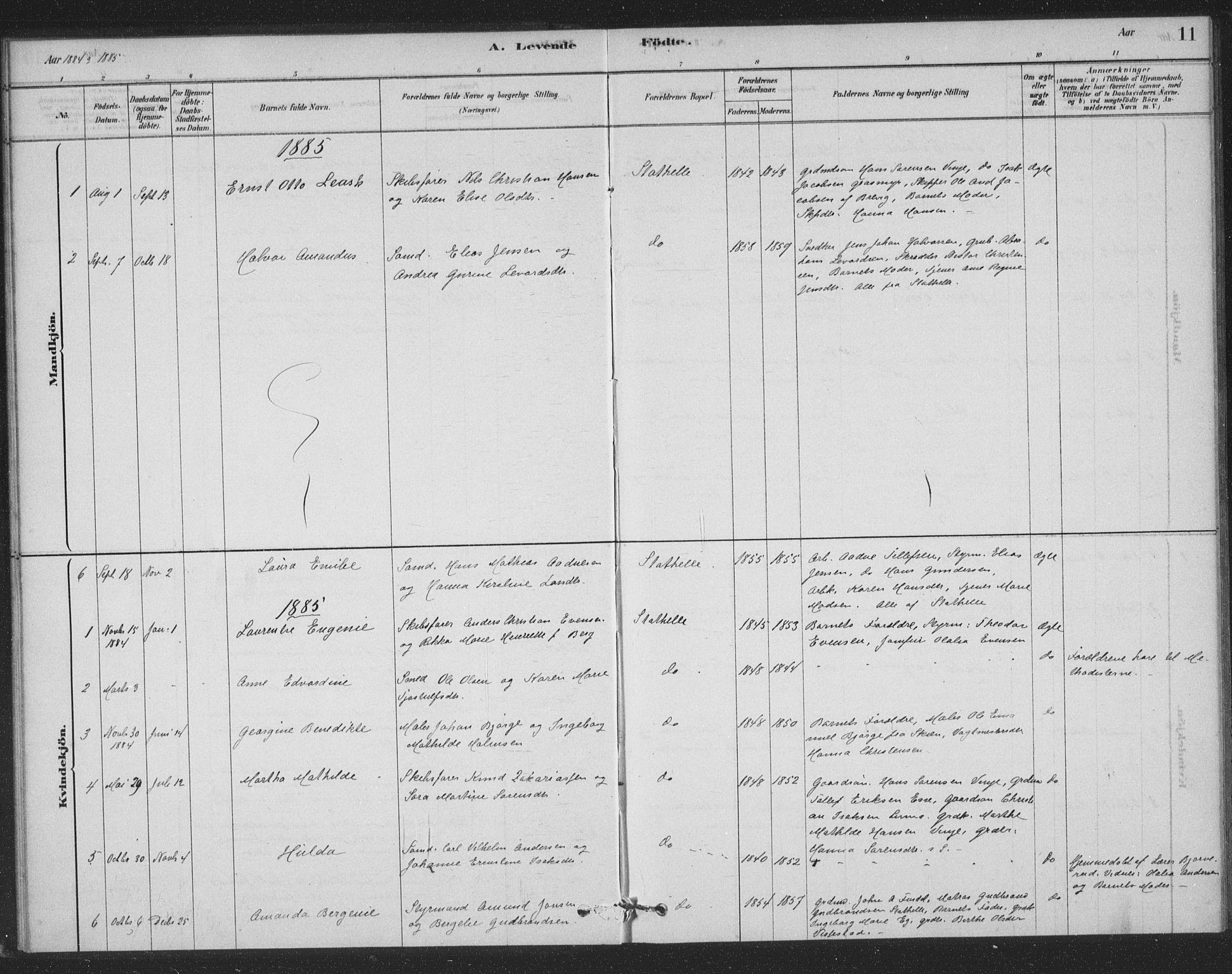 SAKO, Bamble kirkebøker, F/Fb/L0001: Ministerialbok nr. II 1, 1878-1899, s. 11