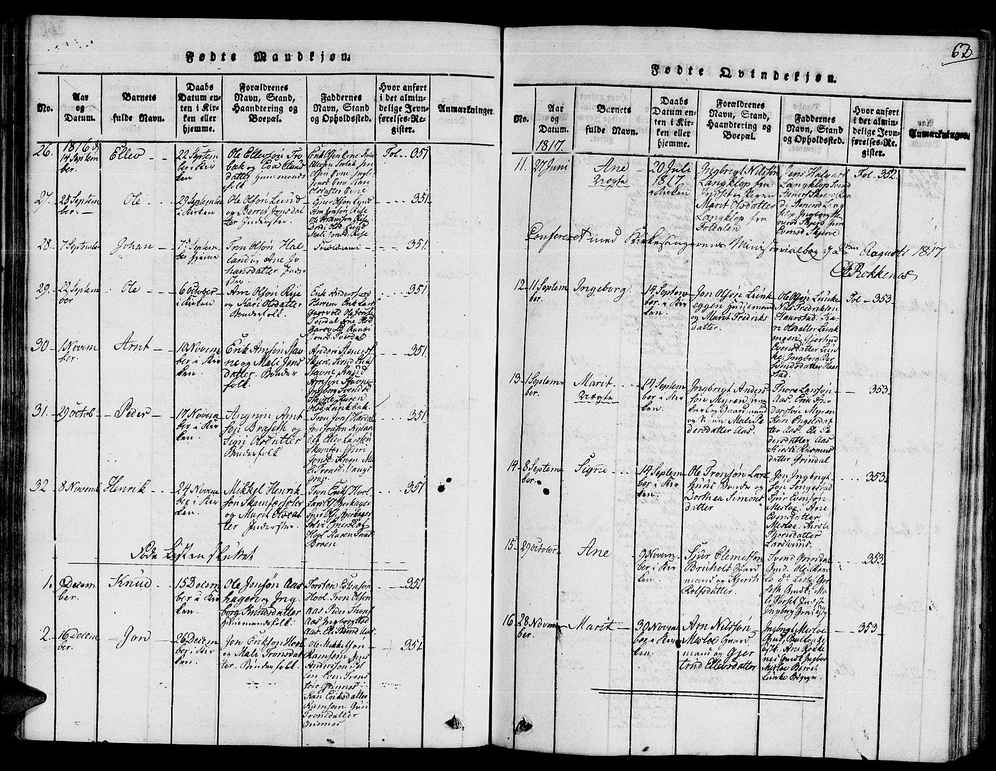 SAT, Ministerialprotokoller, klokkerbøker og fødselsregistre - Sør-Trøndelag, 672/L0854: Ministerialbok nr. 672A06 /2, 1816-1829, s. 62