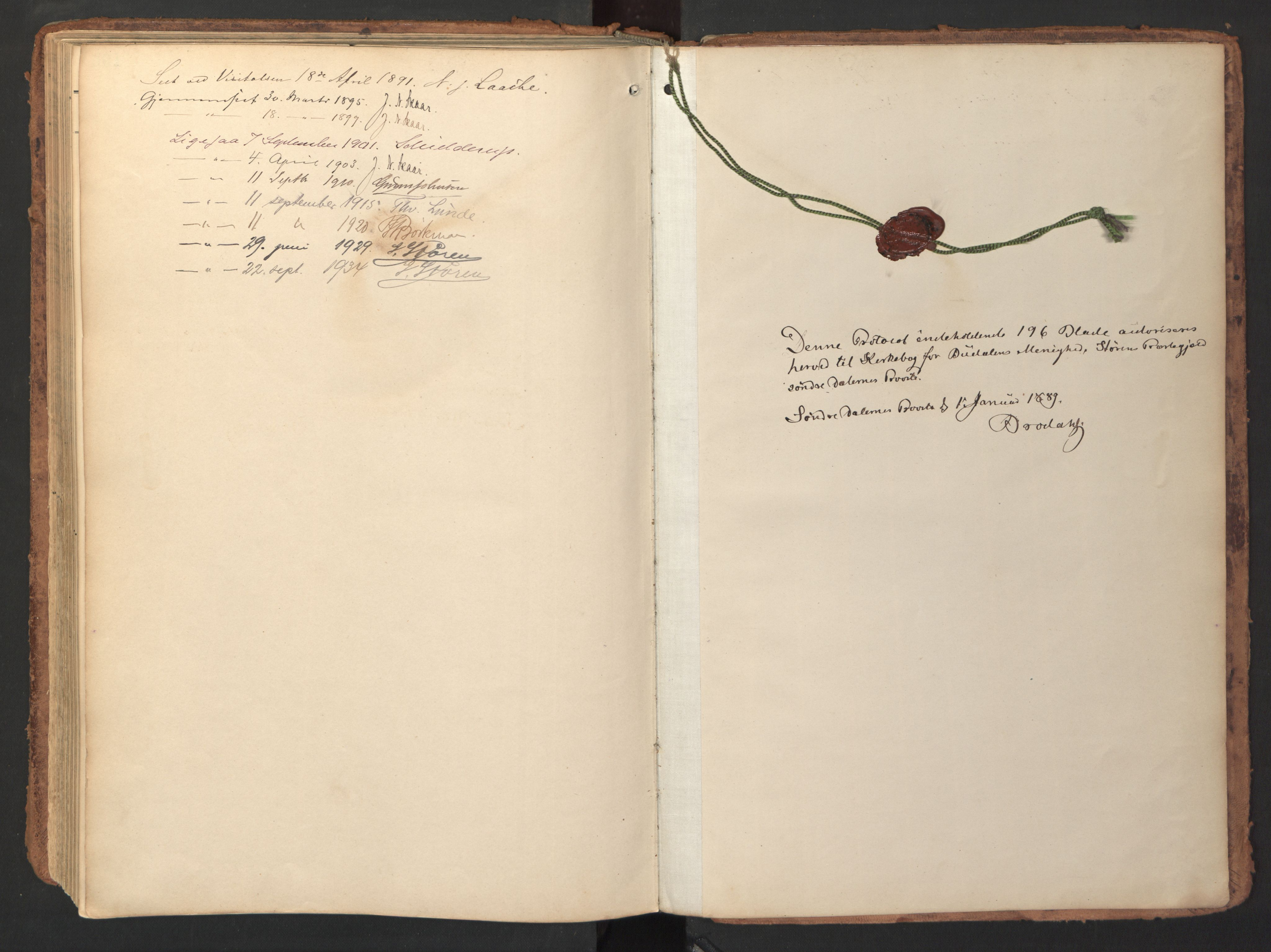 SAT, Ministerialprotokoller, klokkerbøker og fødselsregistre - Sør-Trøndelag, 690/L1050: Ministerialbok nr. 690A01, 1889-1929