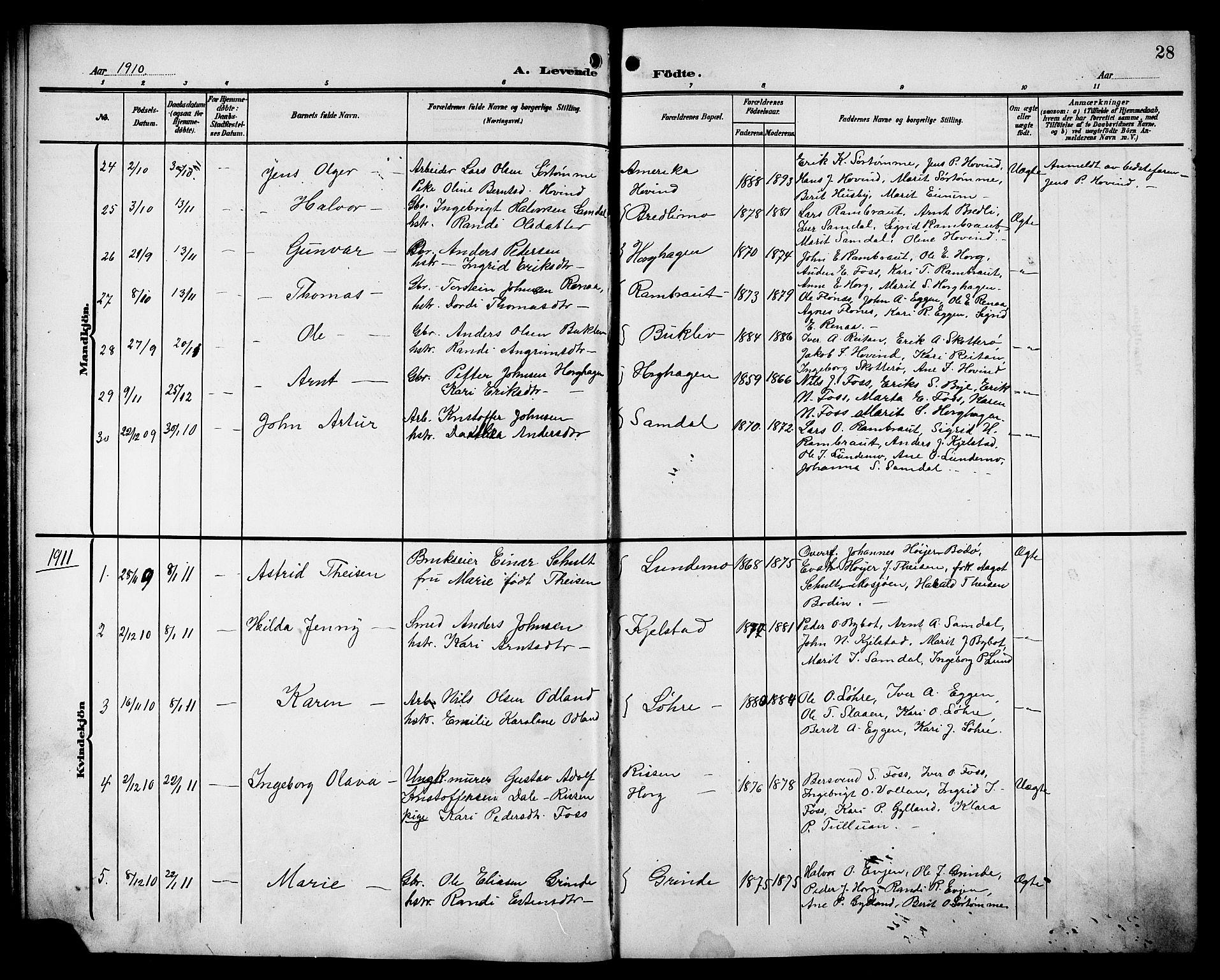 SAT, Ministerialprotokoller, klokkerbøker og fødselsregistre - Sør-Trøndelag, 692/L1112: Klokkerbok nr. 692C07, 1904-1918, s. 28