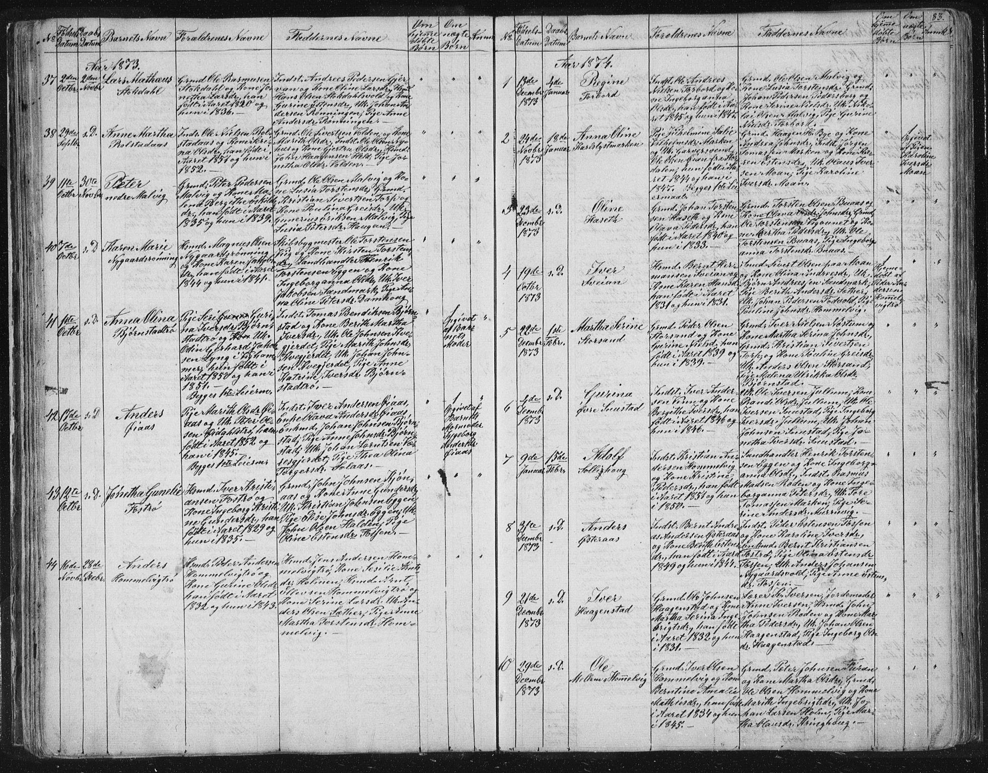 SAT, Ministerialprotokoller, klokkerbøker og fødselsregistre - Sør-Trøndelag, 616/L0406: Ministerialbok nr. 616A03, 1843-1879, s. 83