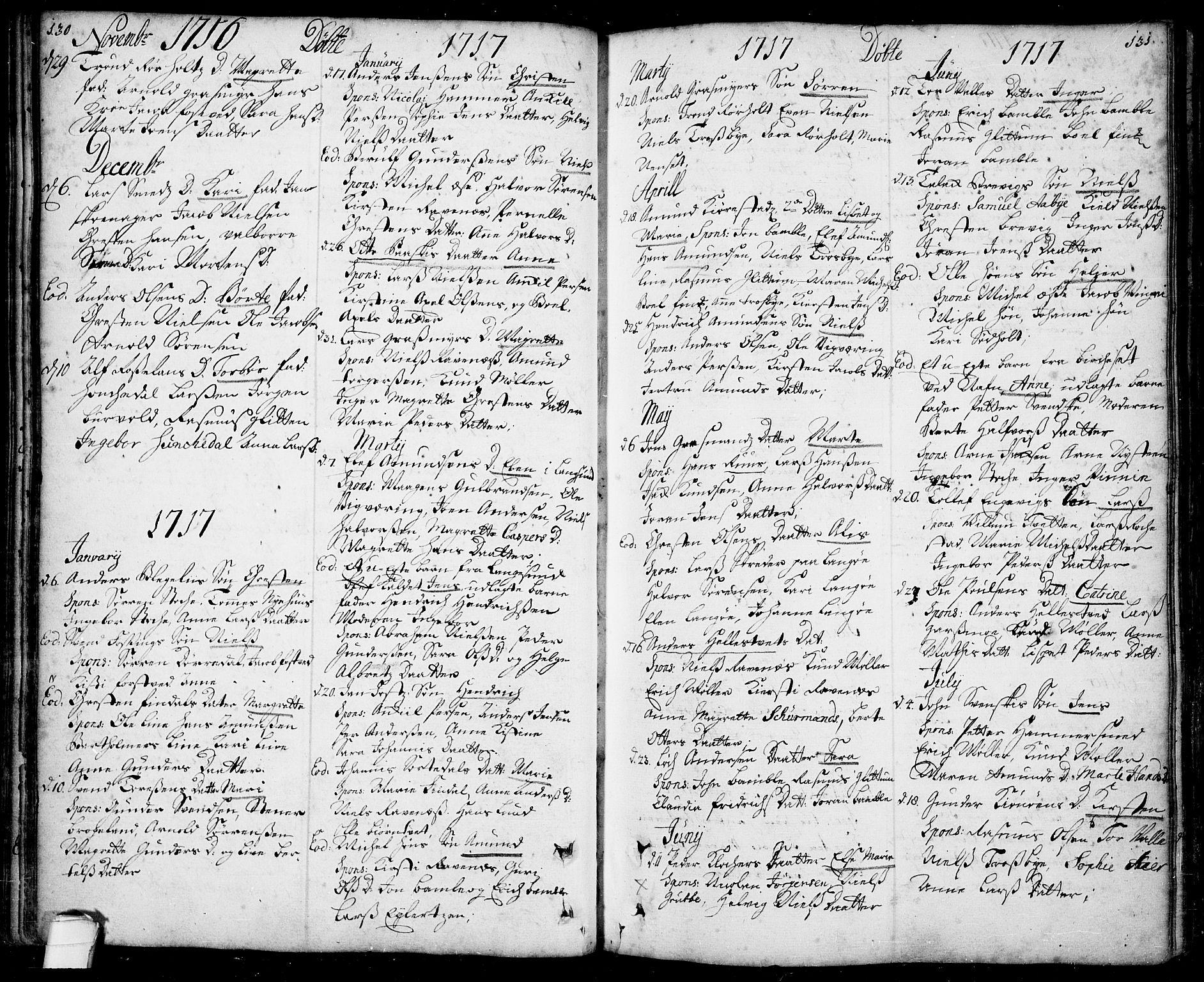 SAKO, Bamble kirkebøker, F/Fa/L0001: Ministerialbok nr. I 1, 1702-1774, s. 130-131