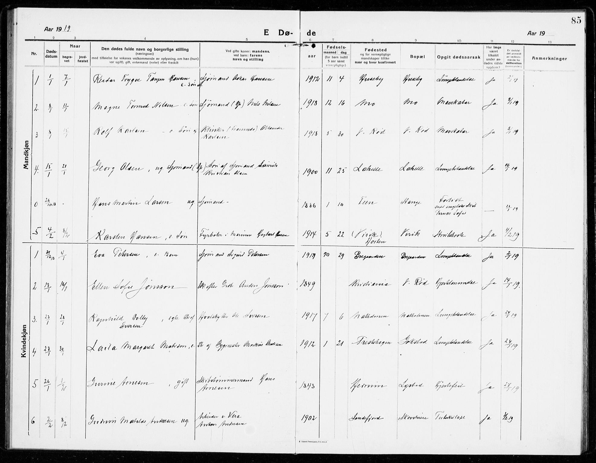 SAKO, Sandar kirkebøker, F/Fa/L0020: Ministerialbok nr. 20, 1915-1919, s. 85