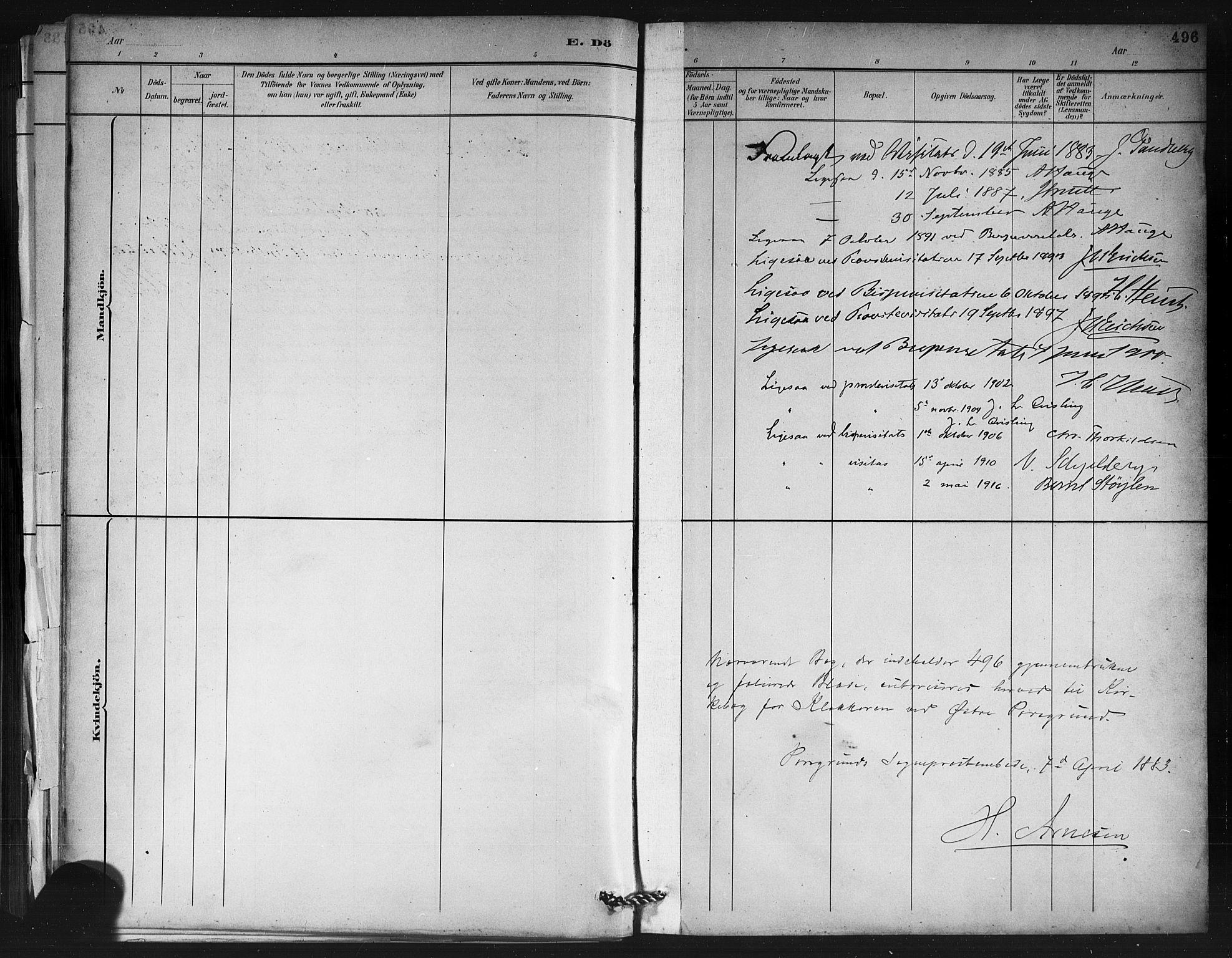 SAKO, Porsgrunn kirkebøker , G/Gb/L0005: Klokkerbok nr. II 5, 1883-1915, s. 496