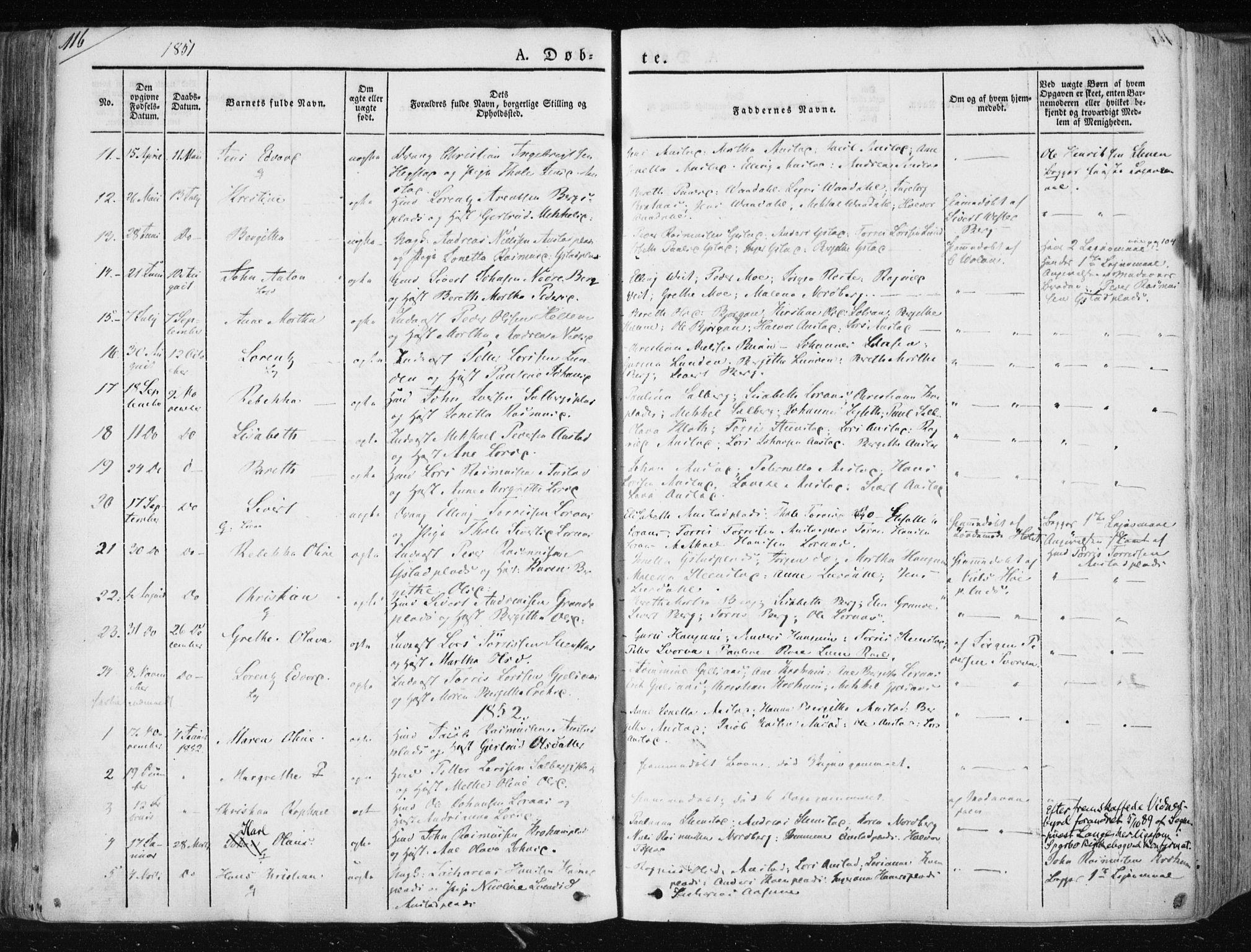 SAT, Ministerialprotokoller, klokkerbøker og fødselsregistre - Nord-Trøndelag, 730/L0280: Ministerialbok nr. 730A07 /2, 1840-1854, s. 116