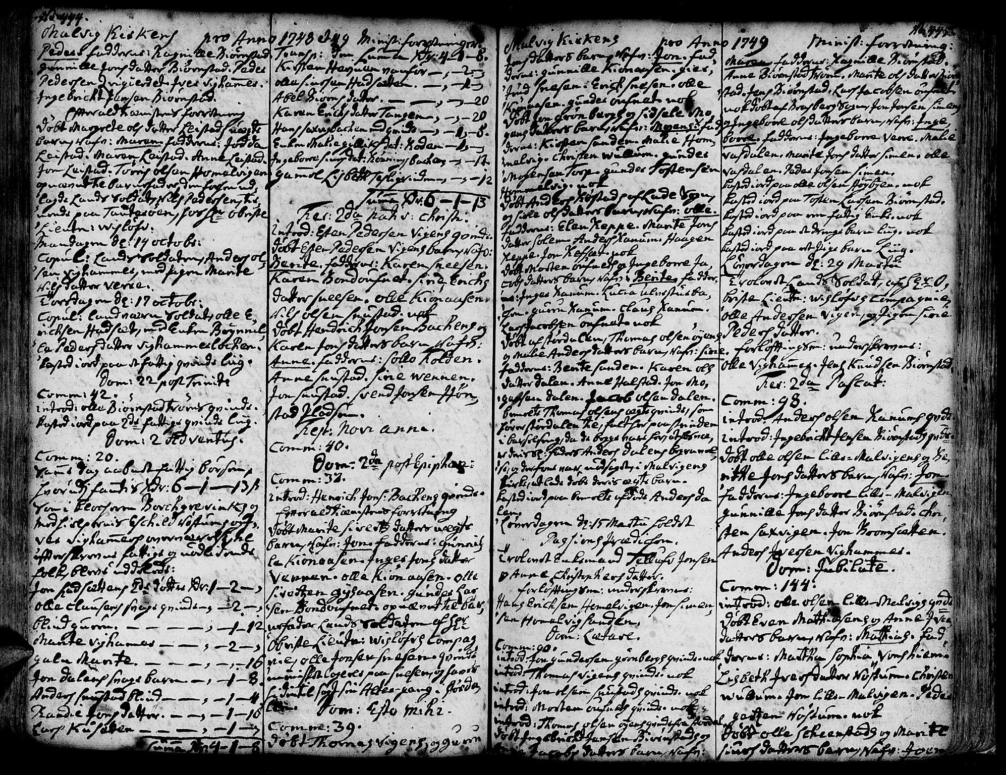 SAT, Ministerialprotokoller, klokkerbøker og fødselsregistre - Sør-Trøndelag, 606/L0277: Ministerialbok nr. 606A01 /3, 1727-1780, s. 444-445