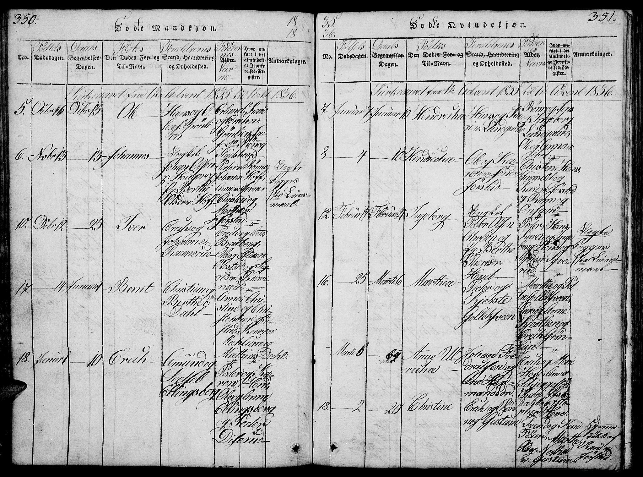 SAH, Fåberg prestekontor, Klokkerbok nr. 4, 1818-1837, s. 350-351