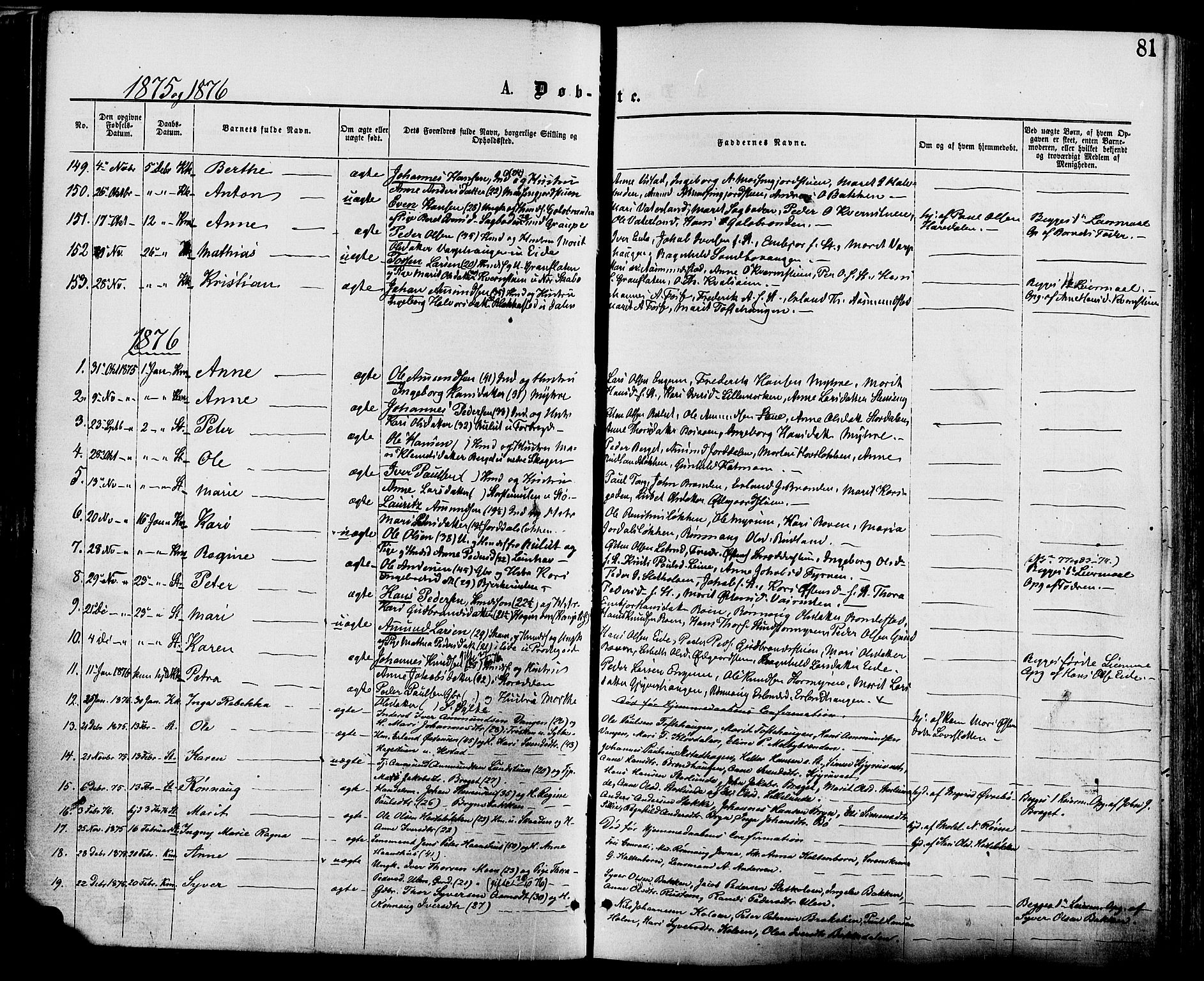 SAH, Nord-Fron prestekontor, Ministerialbok nr. 2, 1865-1883, s. 81