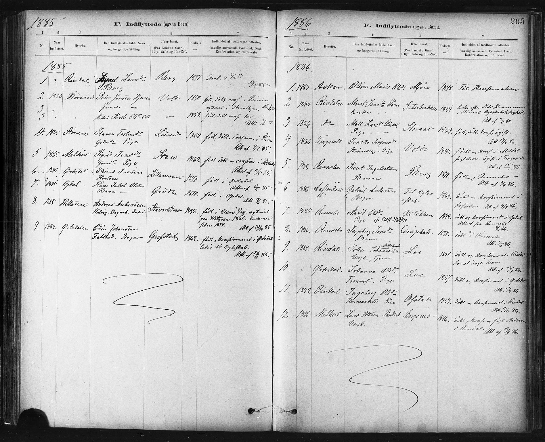 SAT, Ministerialprotokoller, klokkerbøker og fødselsregistre - Sør-Trøndelag, 672/L0857: Ministerialbok nr. 672A09, 1882-1893, s. 265