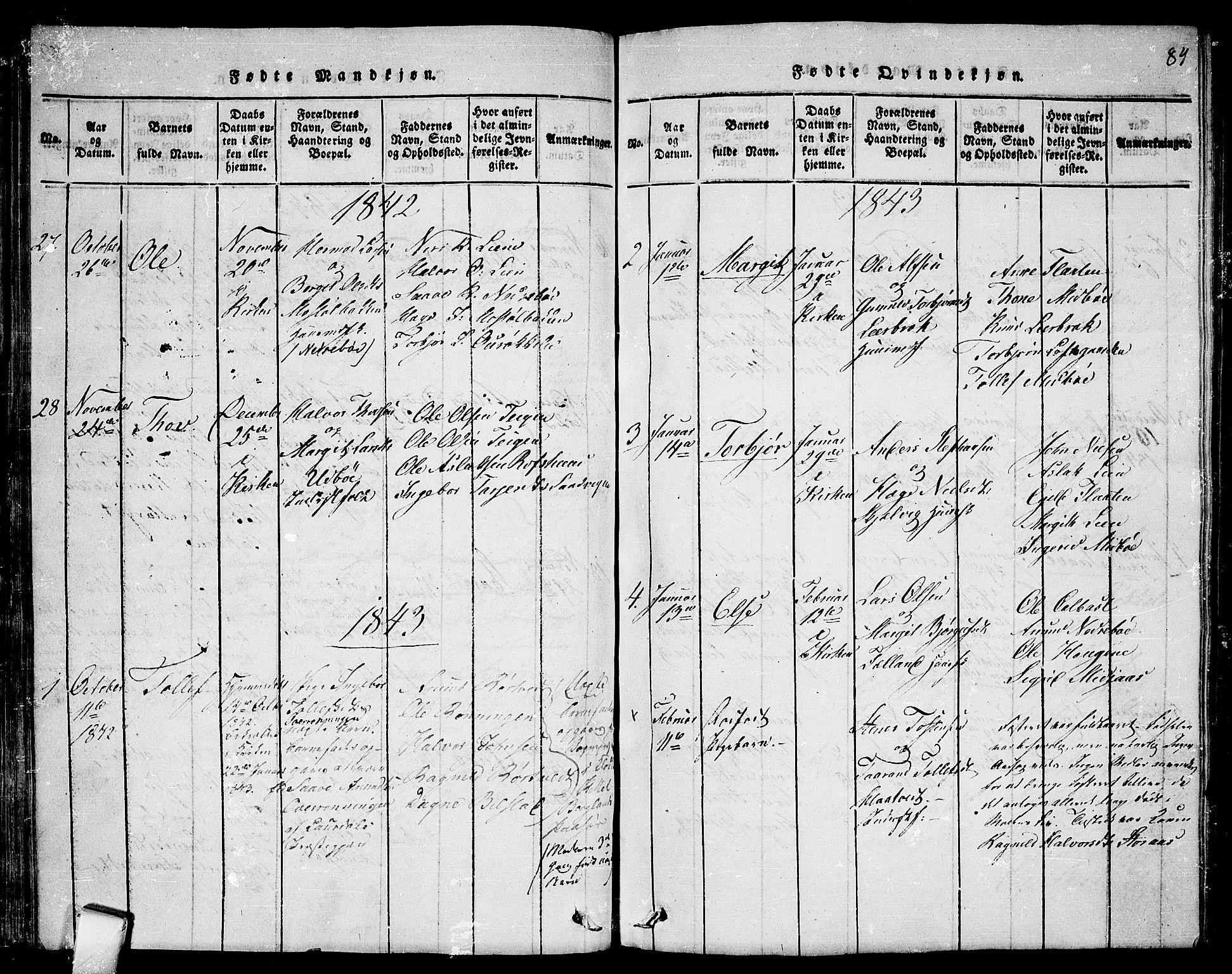 SAKO, Mo kirkebøker, F/Fa/L0004: Ministerialbok nr. I 4, 1814-1844, s. 84
