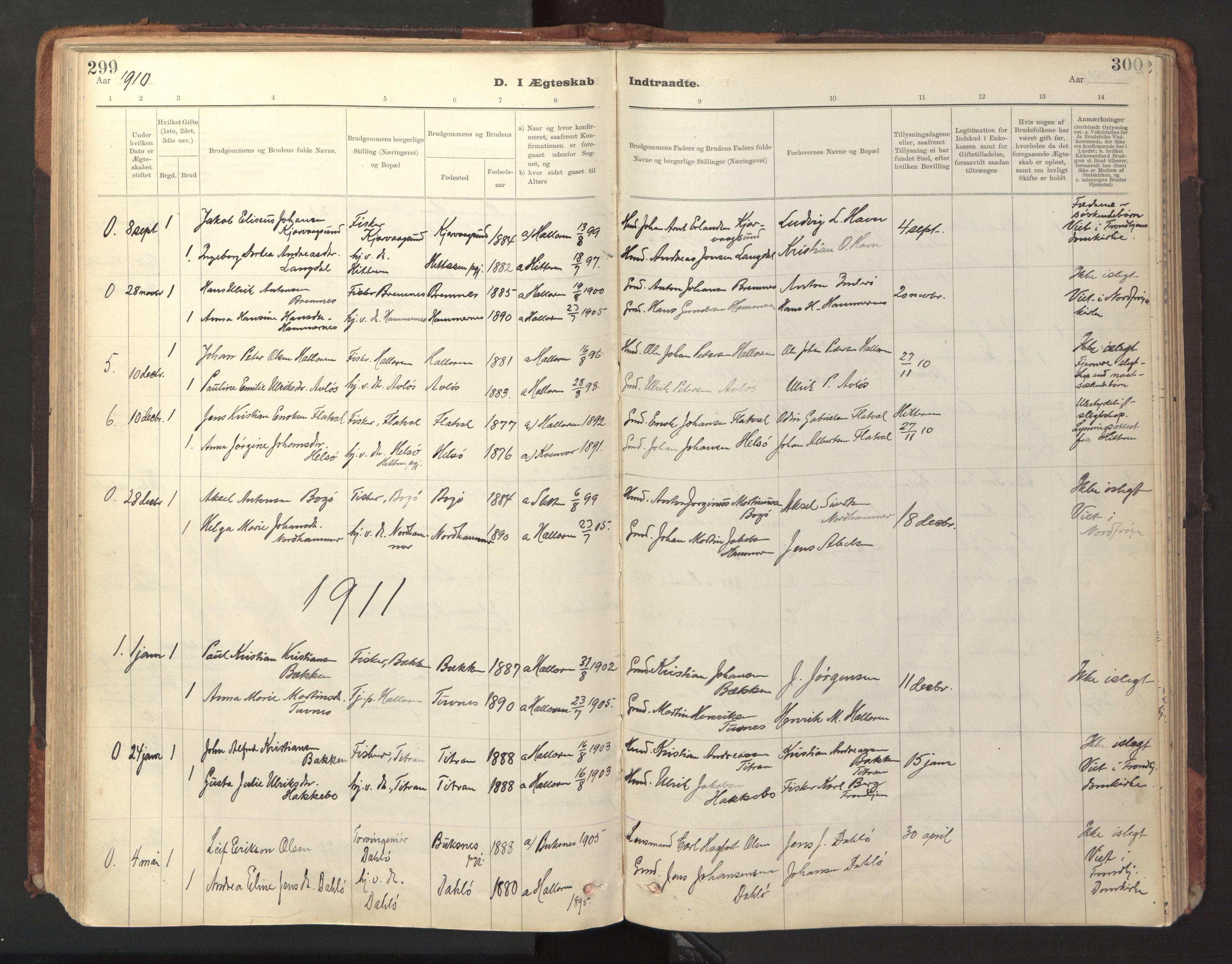 SAT, Ministerialprotokoller, klokkerbøker og fødselsregistre - Sør-Trøndelag, 641/L0596: Ministerialbok nr. 641A02, 1898-1915, s. 299-300