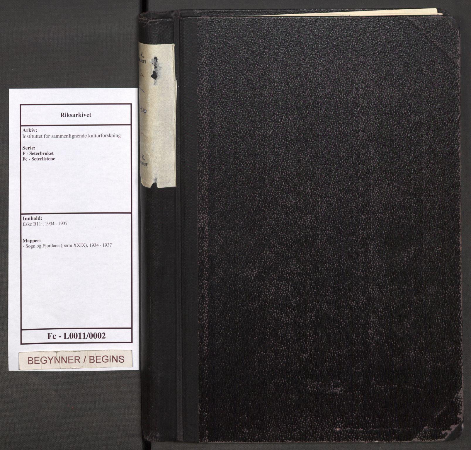 RA, Instituttet for sammenlignende kulturforskning, F/Fc/L0011: Eske B11:, 1934-1937, s. upaginert