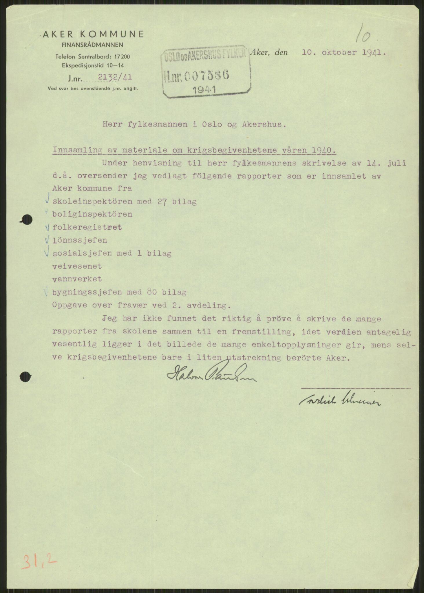 RA, Forsvaret, Forsvarets krigshistoriske avdeling, Y/Ya/L0013: II-C-11-31 - Fylkesmenn.  Rapporter om krigsbegivenhetene 1940., 1940, s. 218