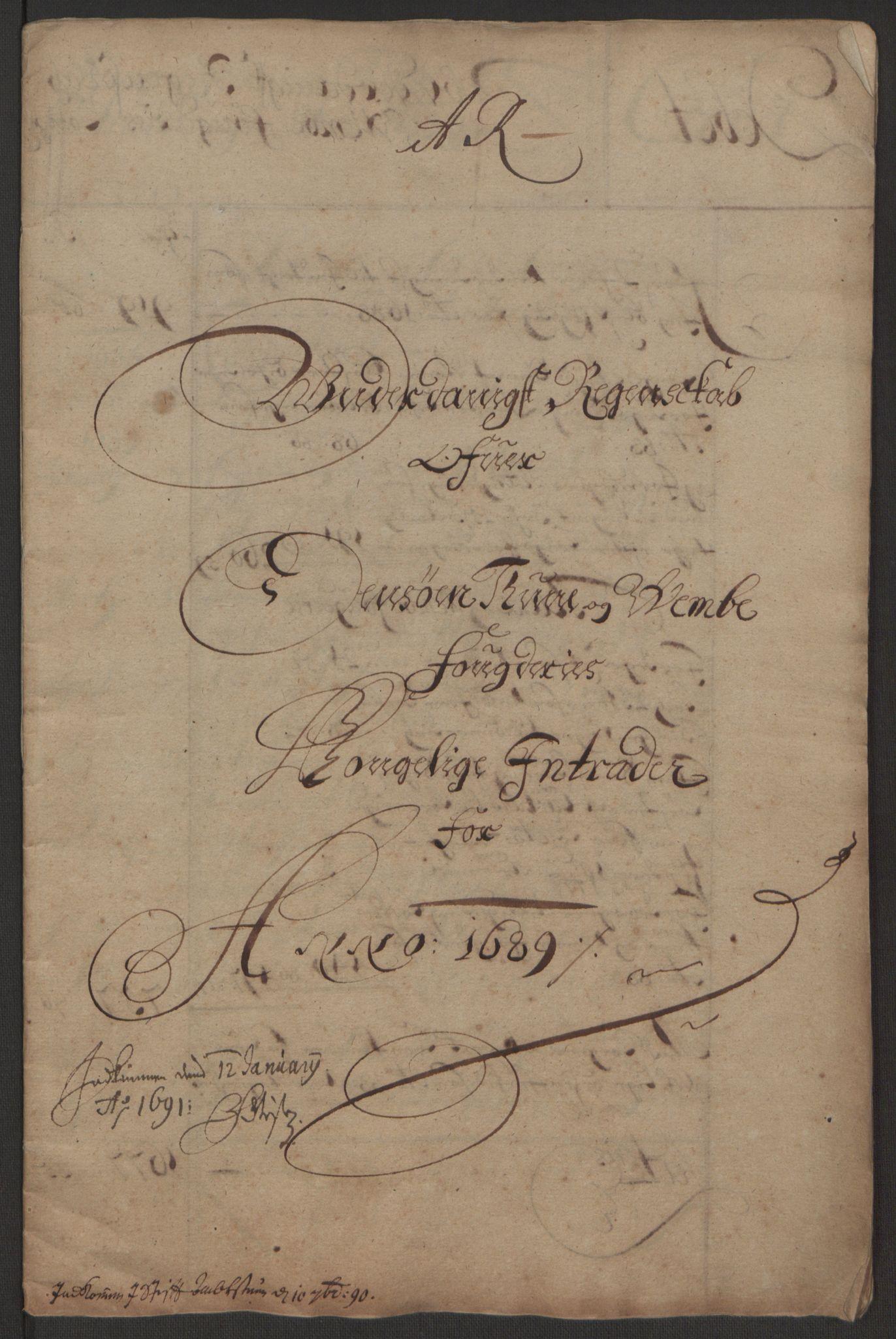 RA, Rentekammeret inntil 1814, Reviderte regnskaper, Fogderegnskap, R03/L0118: Fogderegnskap Onsøy, Tune, Veme og Åbygge fogderi, 1684-1689, s. 3