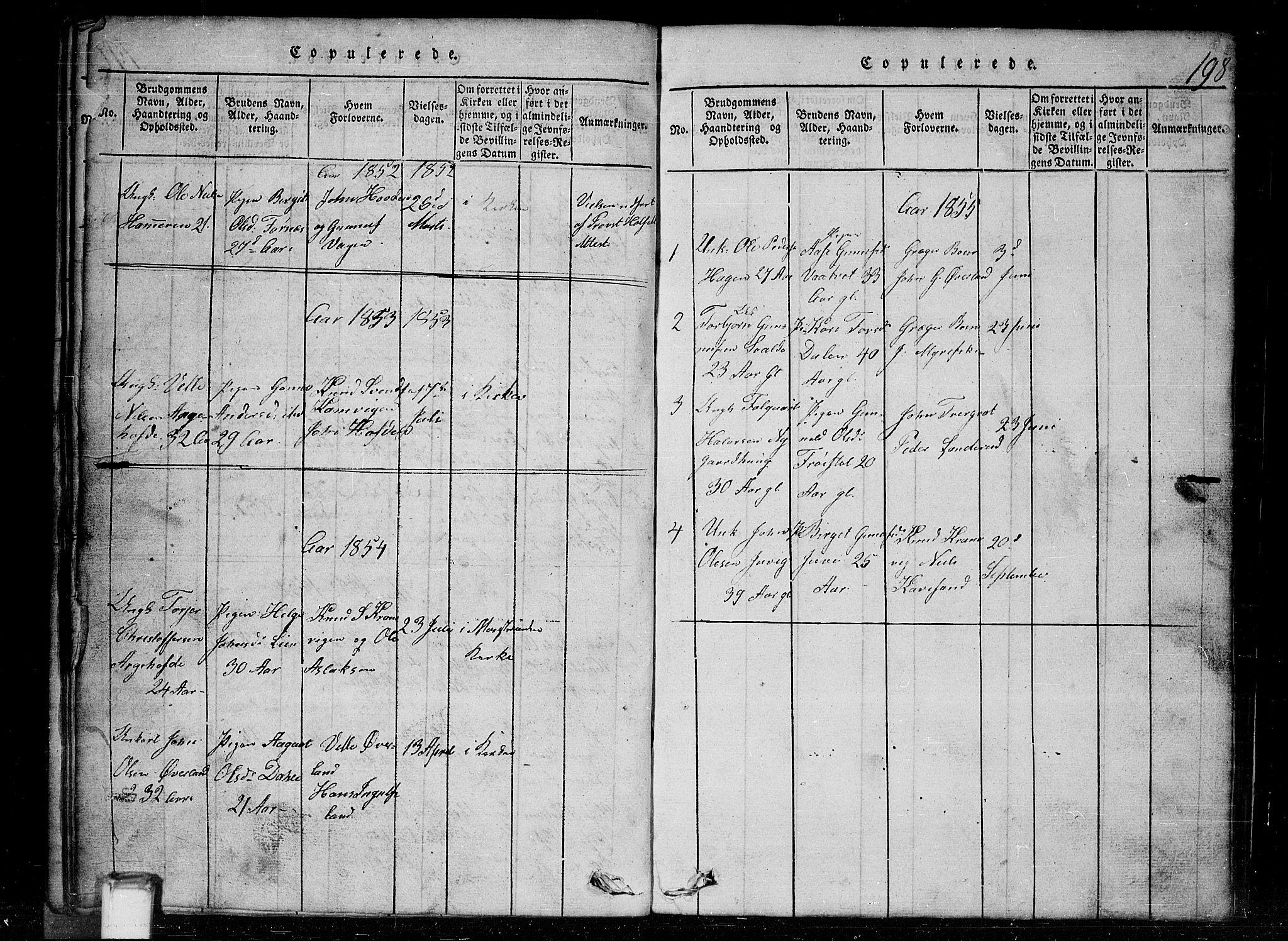 SAKO, Tinn kirkebøker, G/Gc/L0001: Klokkerbok nr. III 1, 1815-1879, s. 198