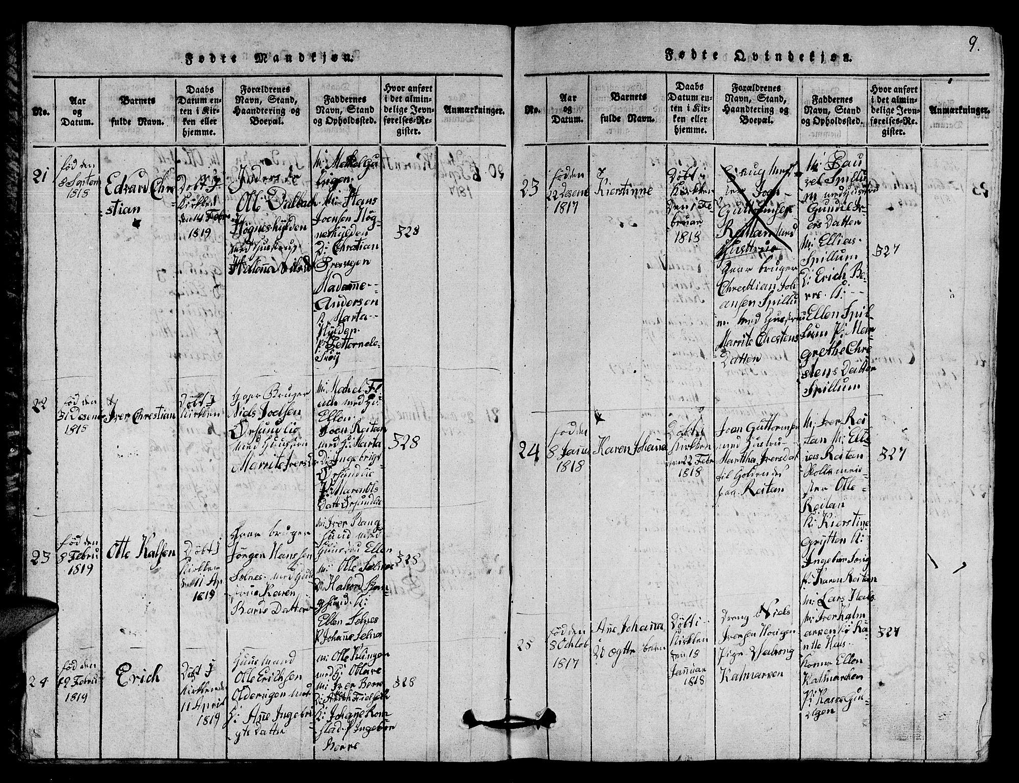 SAT, Ministerialprotokoller, klokkerbøker og fødselsregistre - Nord-Trøndelag, 770/L0590: Klokkerbok nr. 770C01, 1815-1824, s. 9