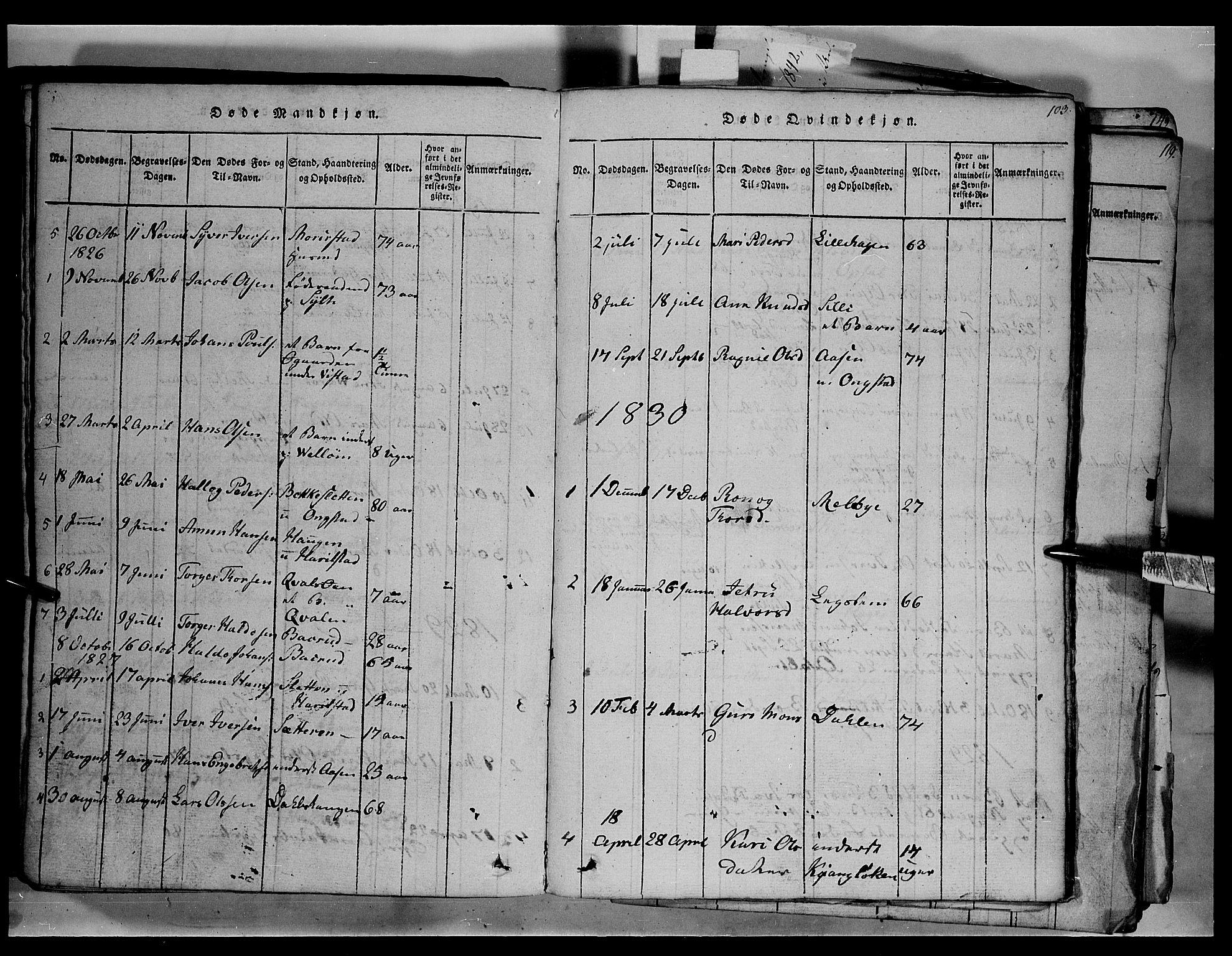 SAH, Fron prestekontor, H/Ha/Hab/L0003: Klokkerbok nr. 3, 1816-1850, s. 103
