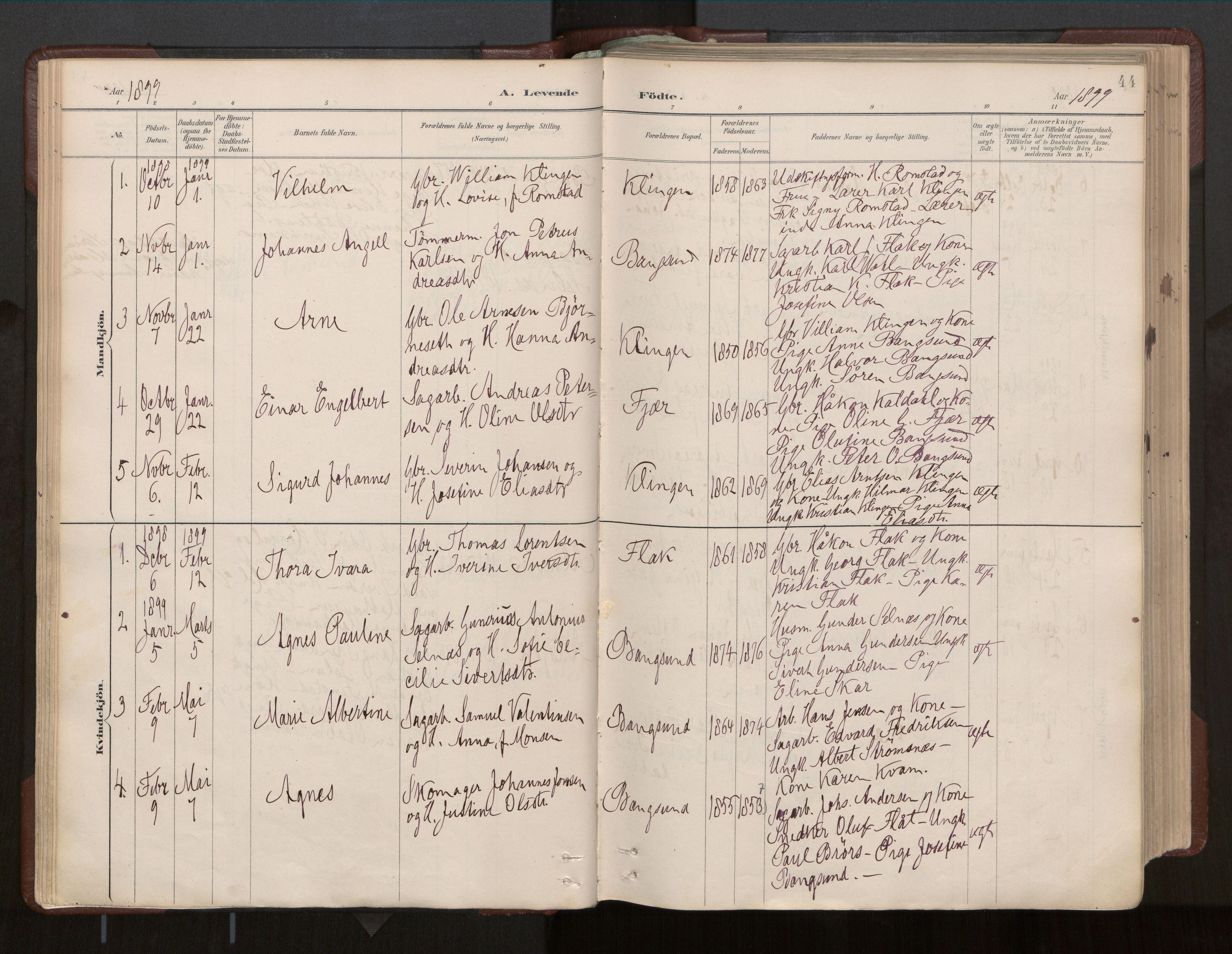 SAT, Ministerialprotokoller, klokkerbøker og fødselsregistre - Nord-Trøndelag, 770/L0589: Ministerialbok nr. 770A03, 1887-1929, s. 44