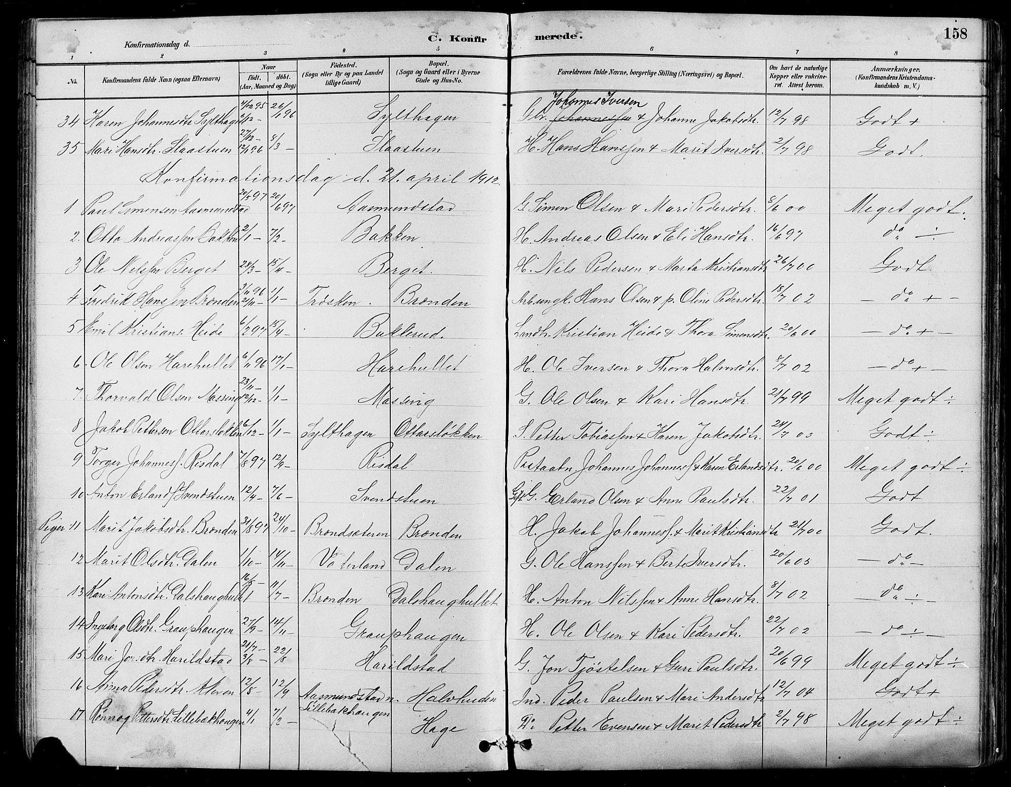 SAH, Nord-Fron prestekontor, Klokkerbok nr. 5, 1884-1914, s. 158