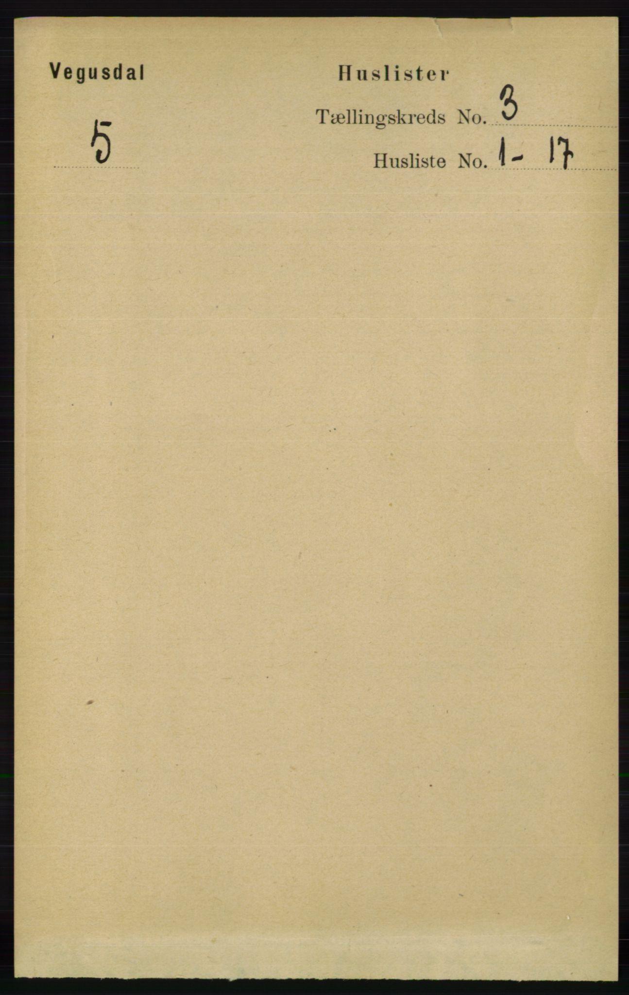 RA, Folketelling 1891 for 0934 Vegusdal herred, 1891, s. 532